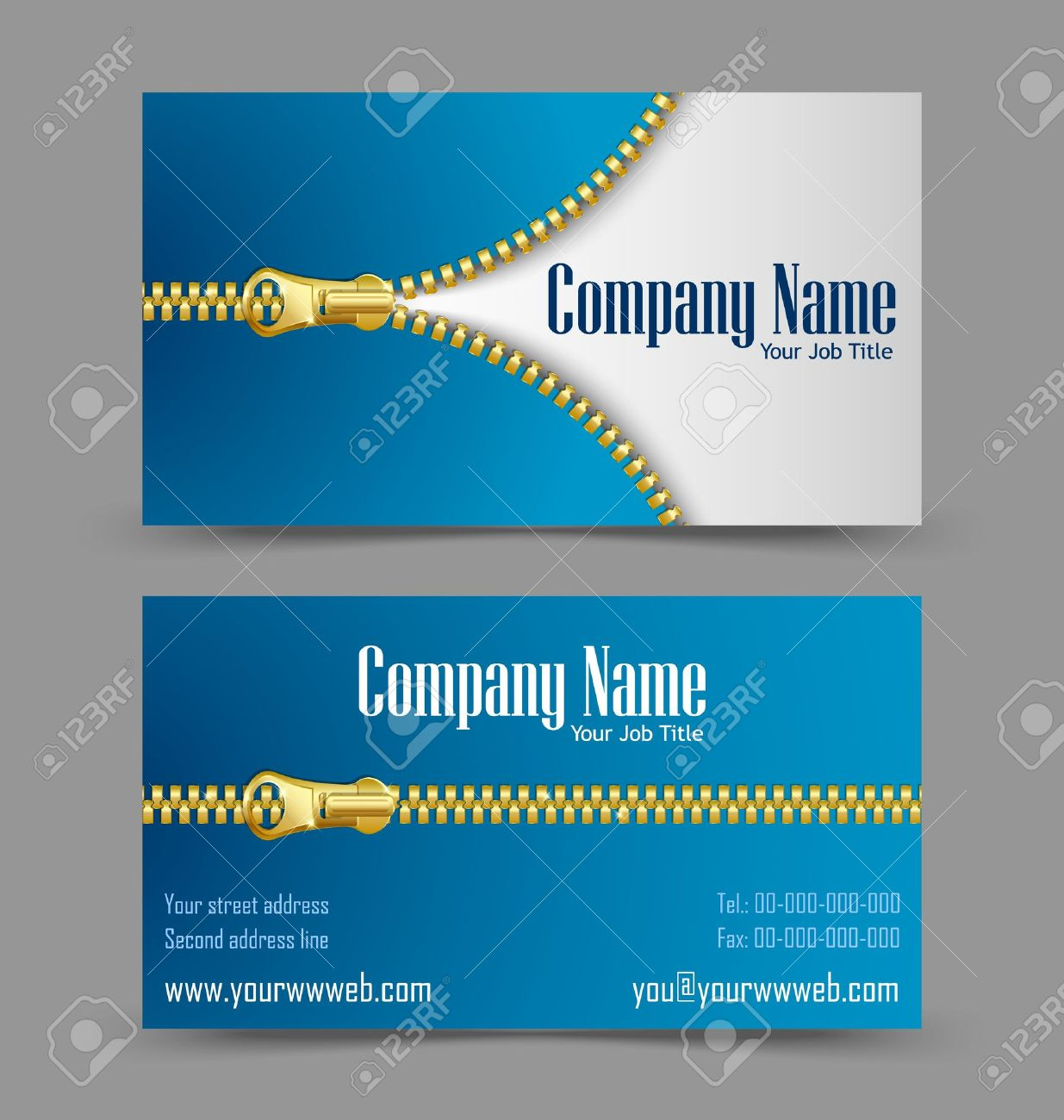 Front And Back Side Of Zipper Theme Business Card Isolated On ...
