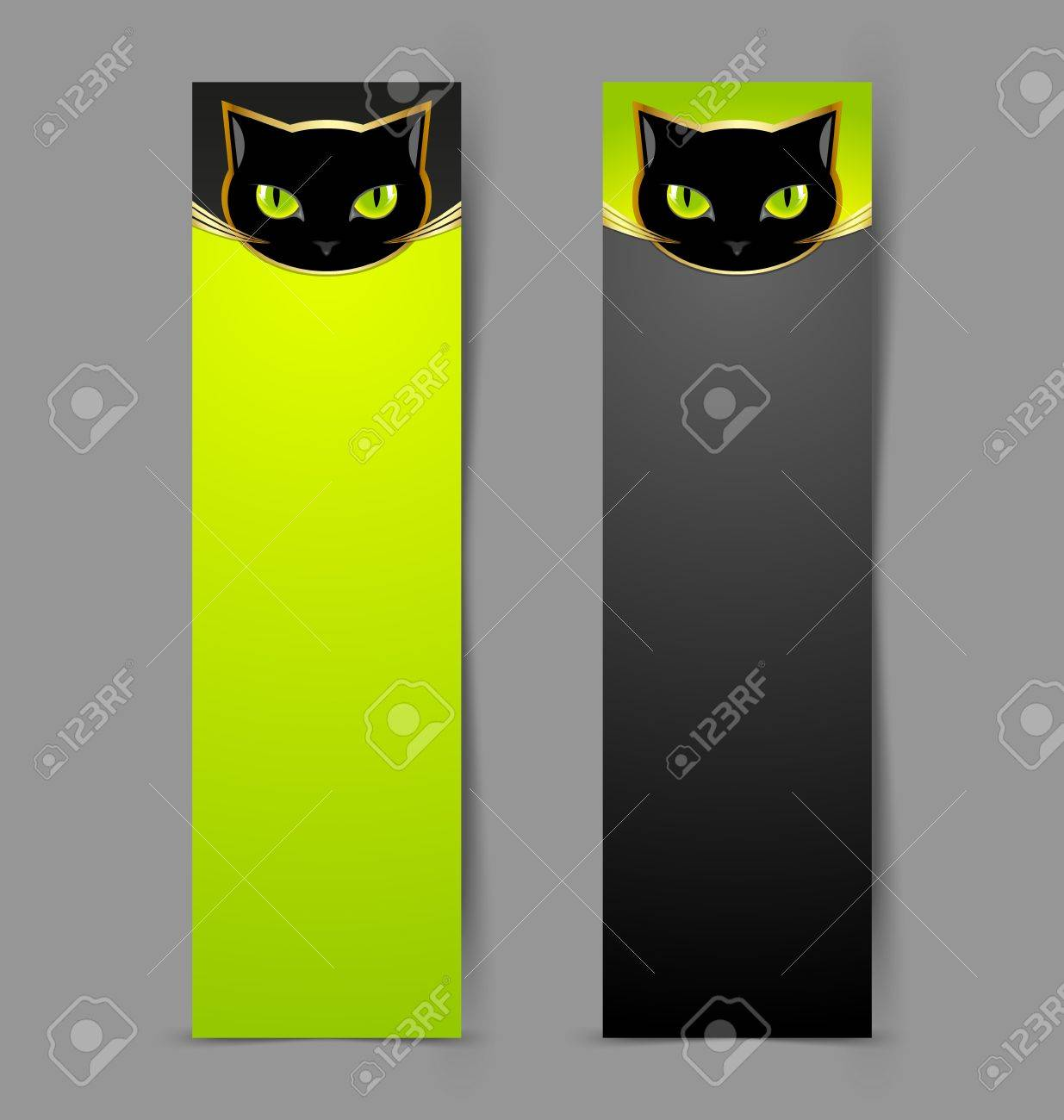 Black cat head banners isolated on grey background Stock Vector - 14487018