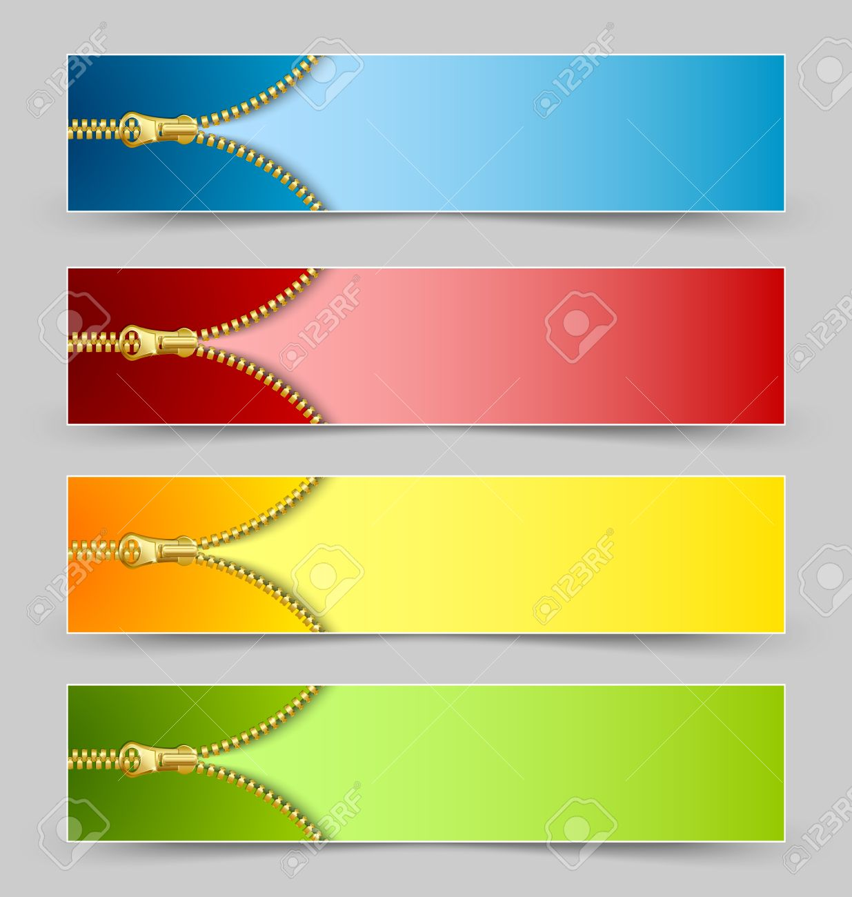 Zipper banners isolated on grey background Stock Vector - 14487061