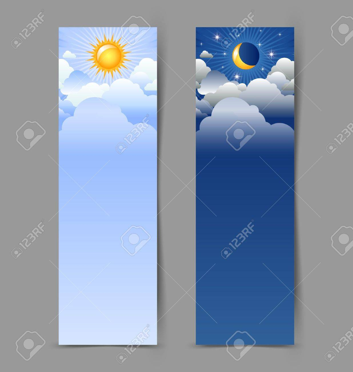 Day and night banners isolated on grey background - 14584133