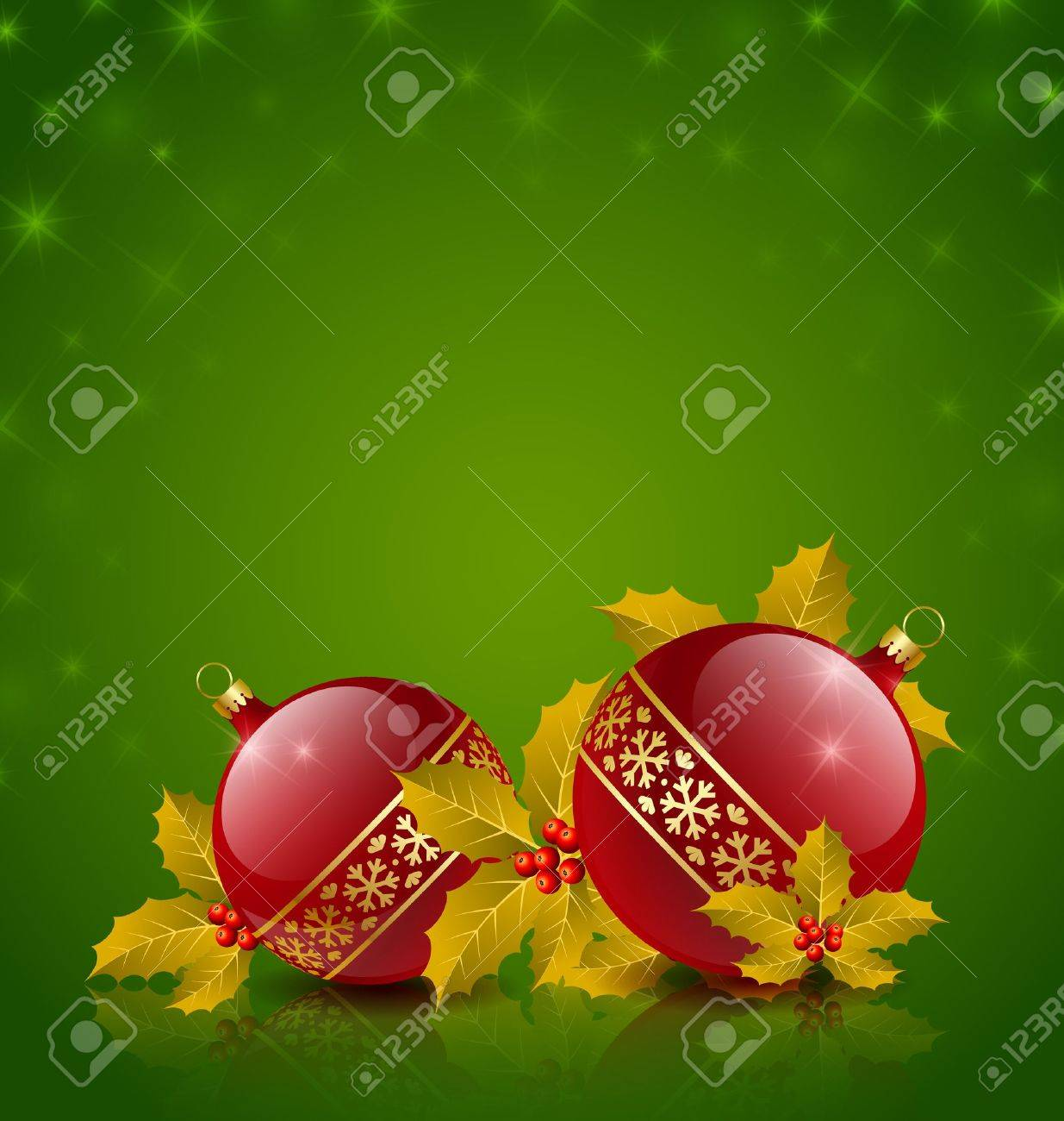 Christmas balls with holly on starry green background Stock Vector - 14765683