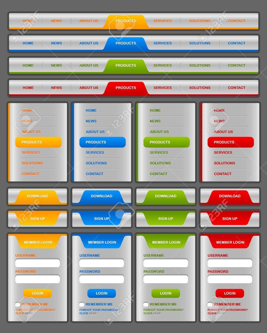 Horizontal and vertical navigation menu and website elements Stock Vector - 14765681