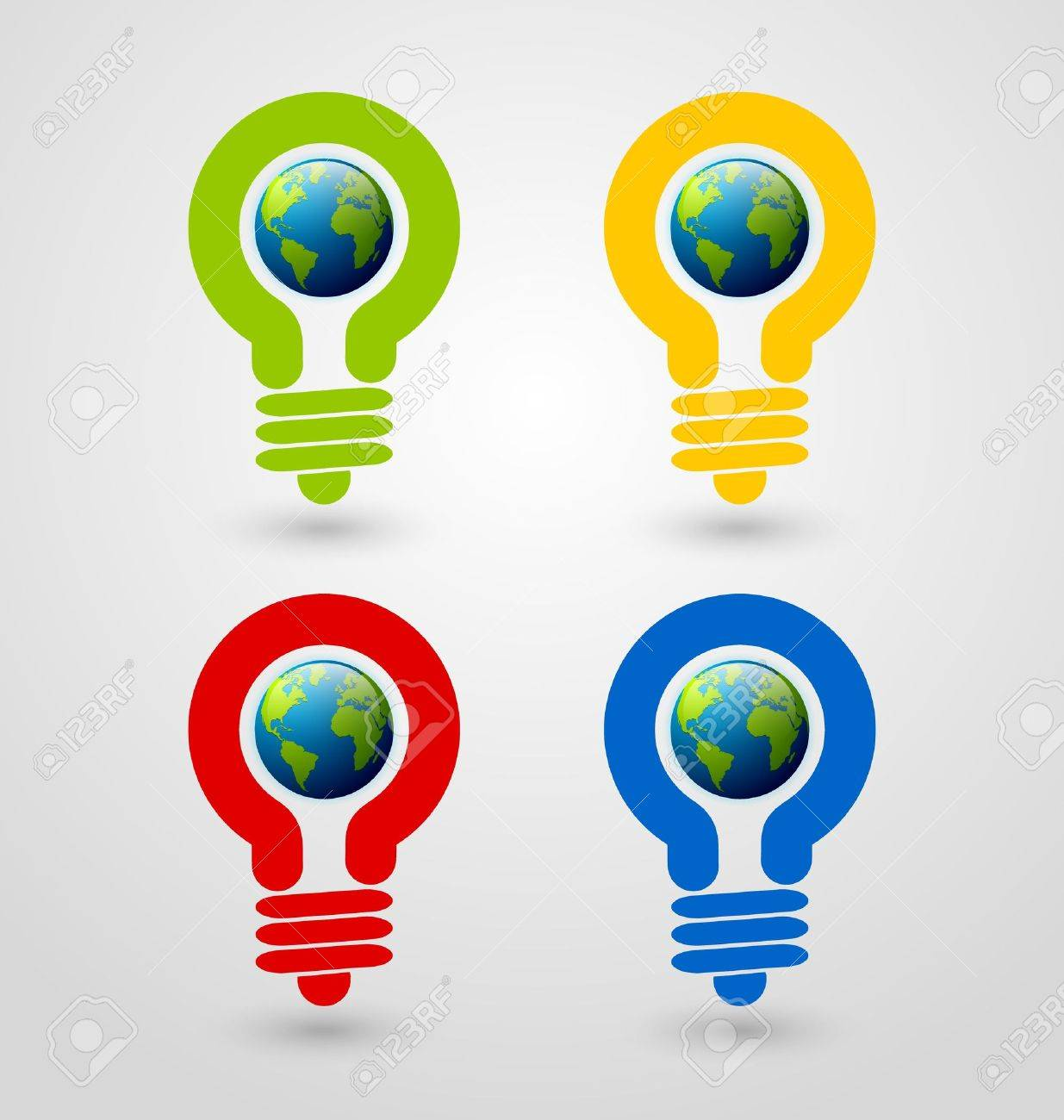 Set of ecology and saving energy icons with light bulb and planet Earth Stock Vector - 15191585
