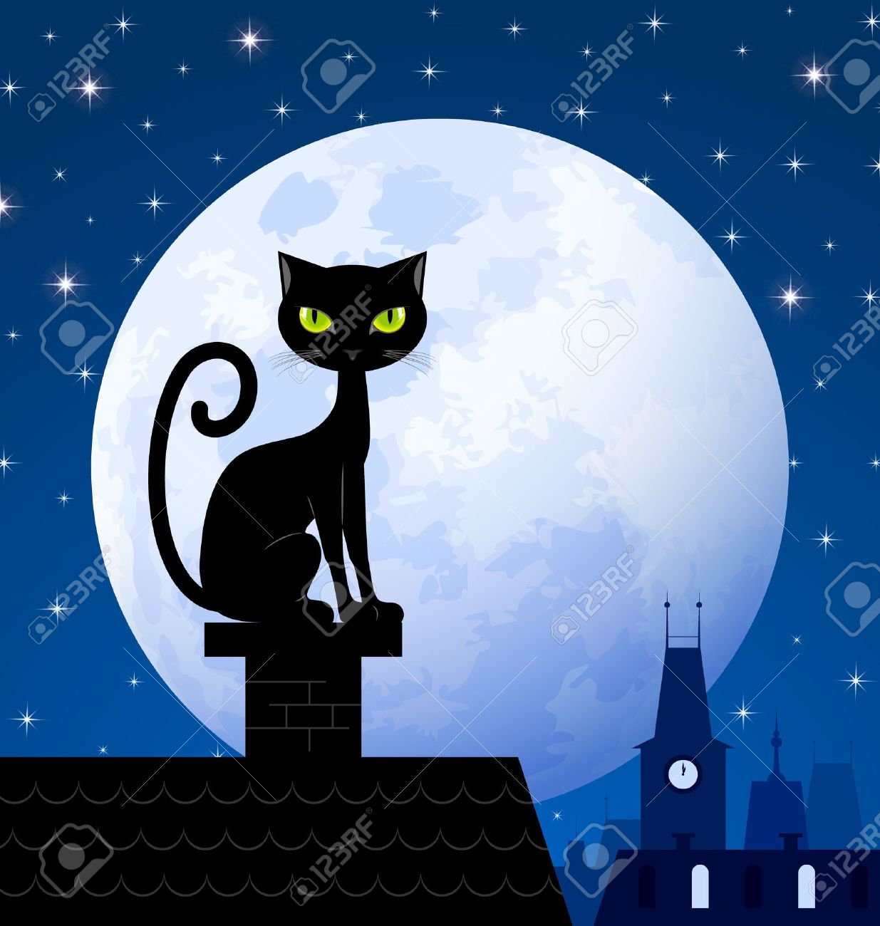 Black cat on chimney with moon town and starry night in the background Stock Vector - 15191583