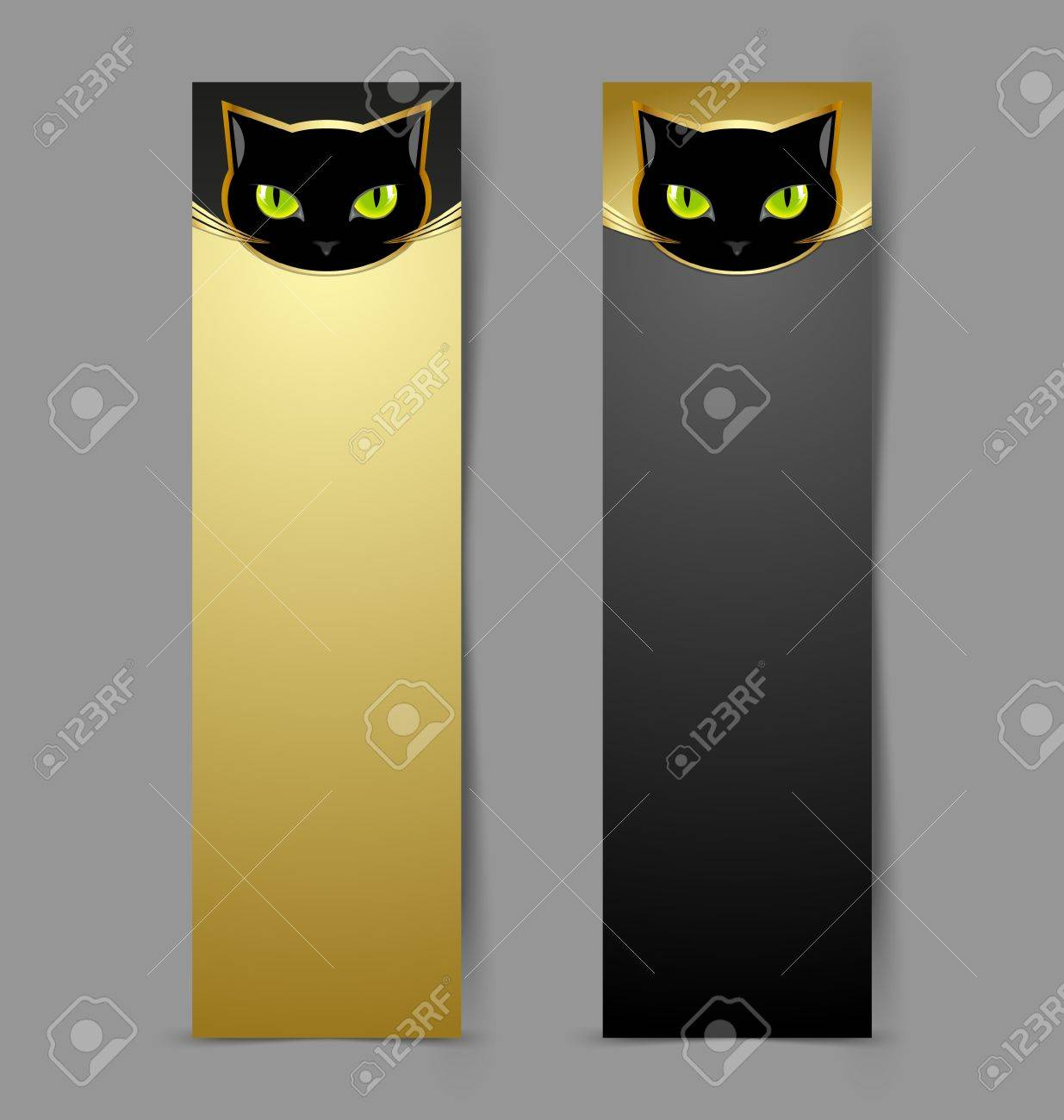 Black cat head banners isolated on grey background Stock Vector - 14960220