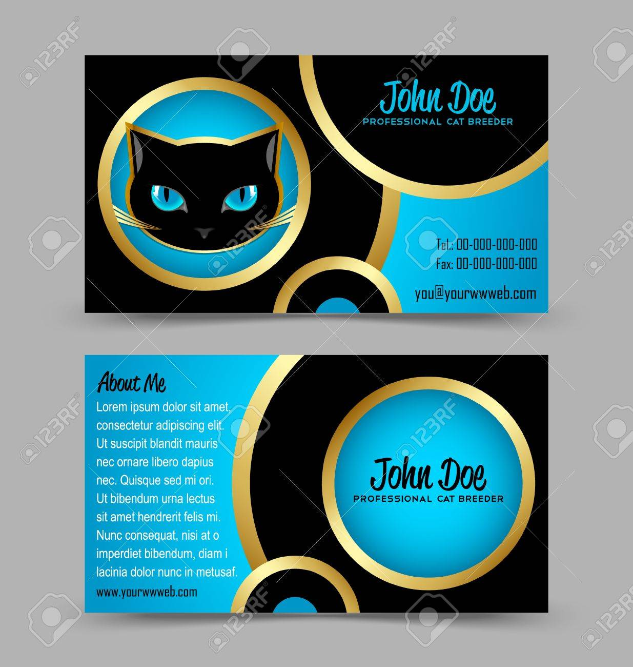 Front And Back Side Of Cat Head Theme Business Card Isolated ...