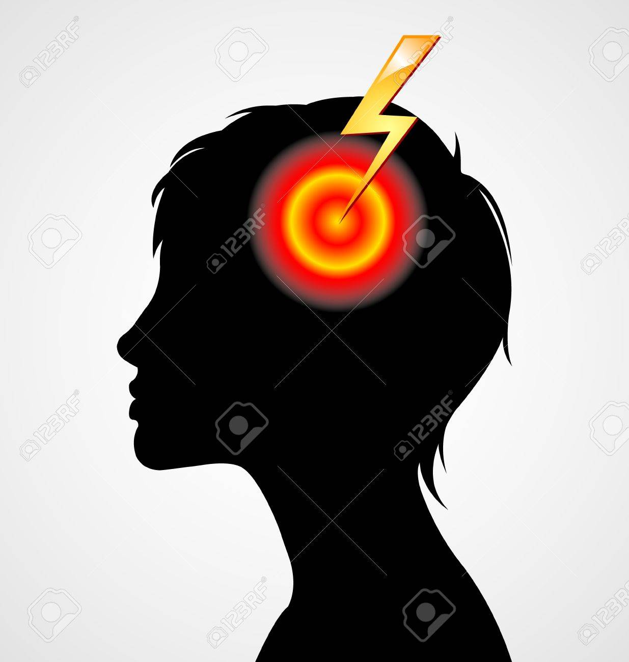 Terrible headache woman silhouette isolated on white background Stock Vector - 15019128