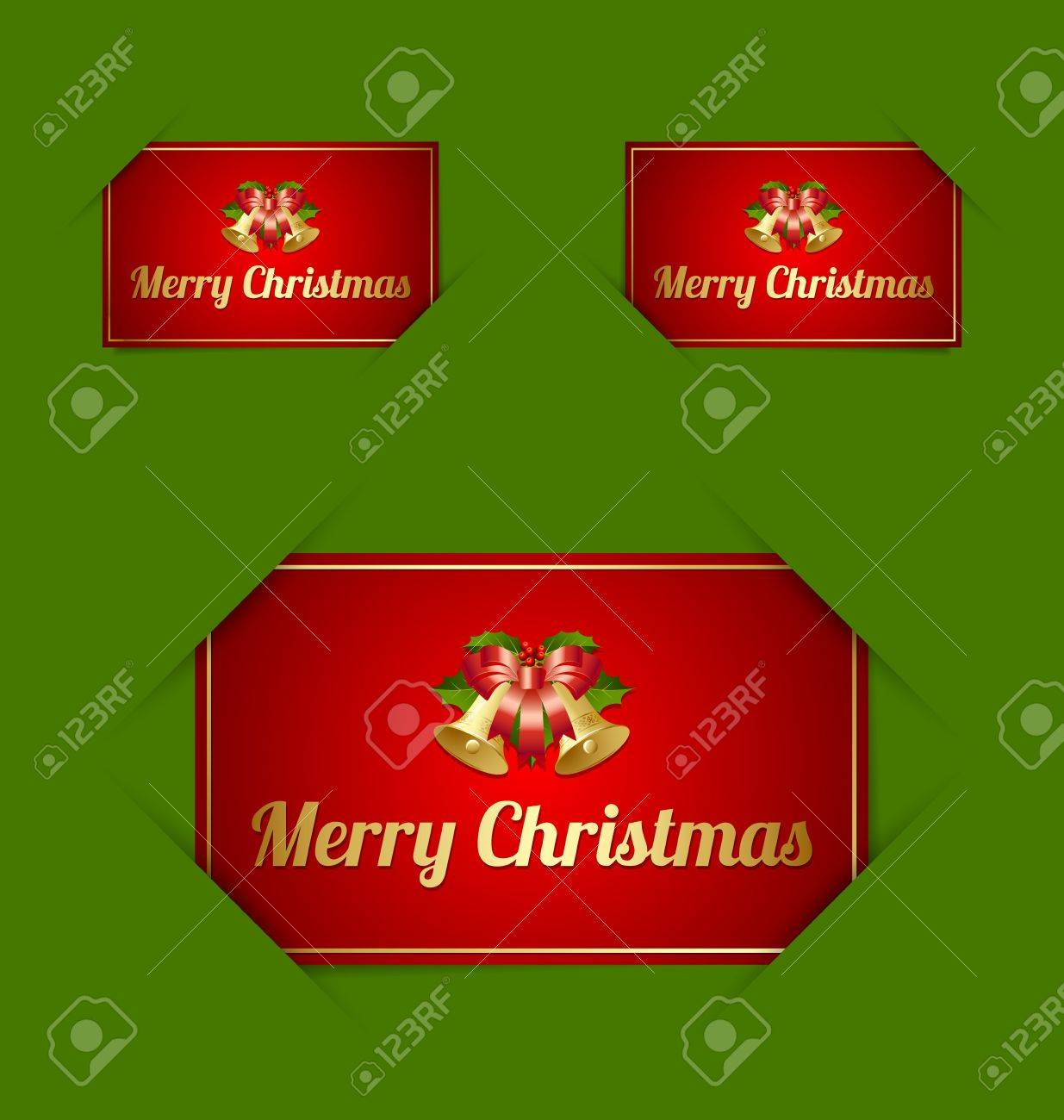 Merry Christmas paper cards inserted into another piece of paper Stock Vector - 15301760