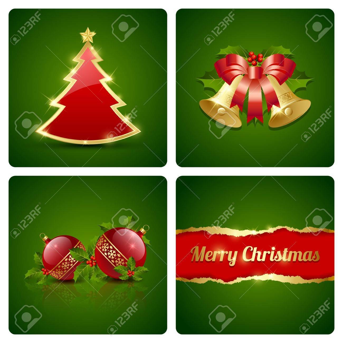 tarjeta original de navidad hecho de cuatro elementos decorativos foto de archivo