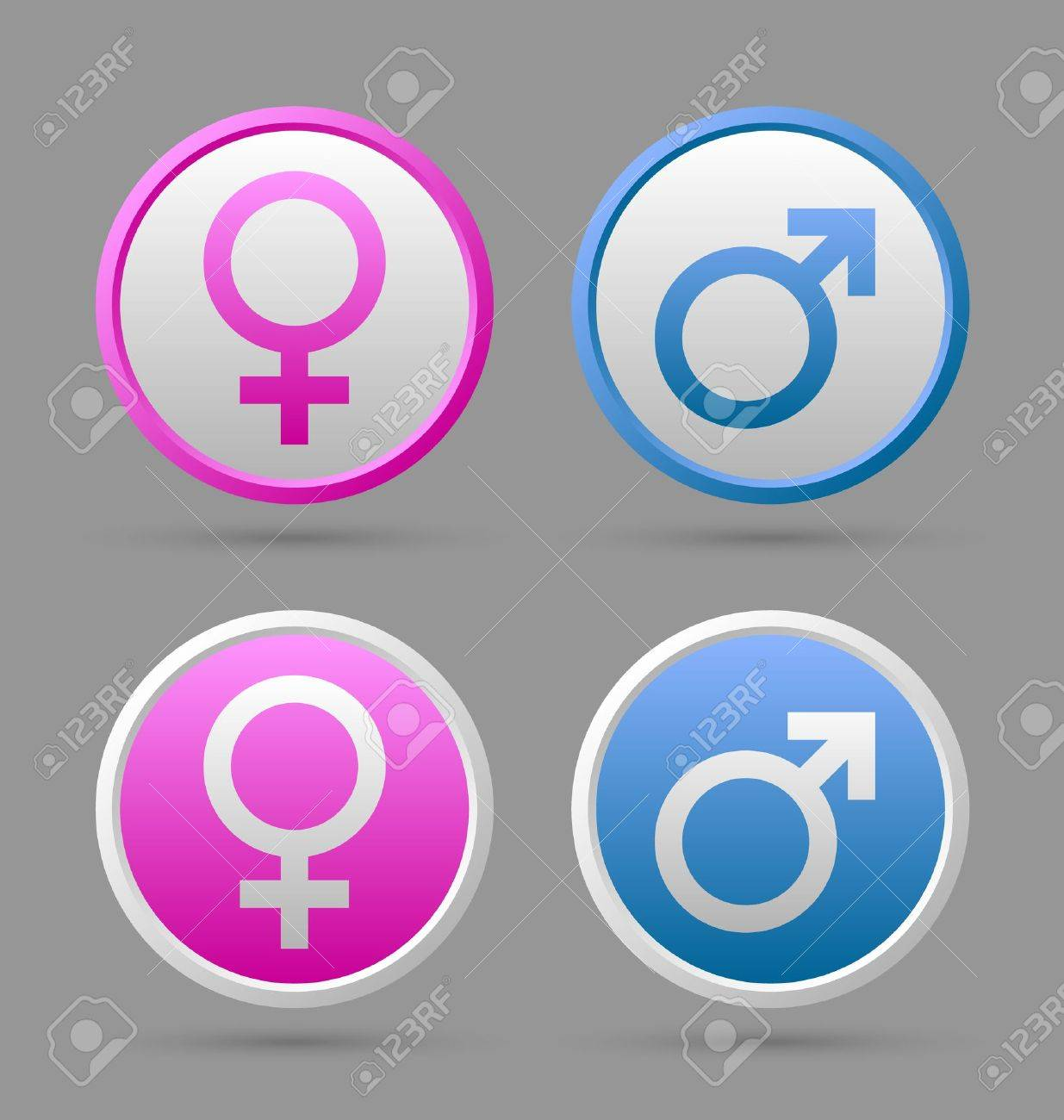 Venus and Mars female and male symbol badges isolated on grey background Stock Vector - 15835996