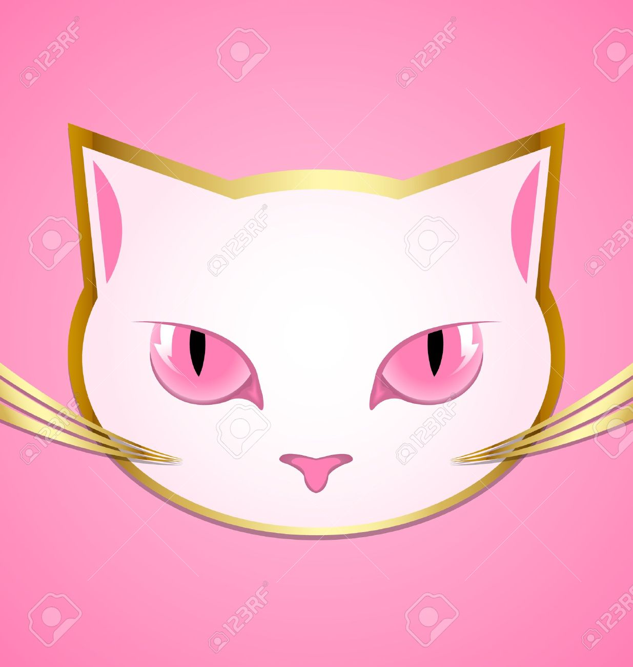 Golden and white cat head isolated on pink background Stock Vector - 15998666