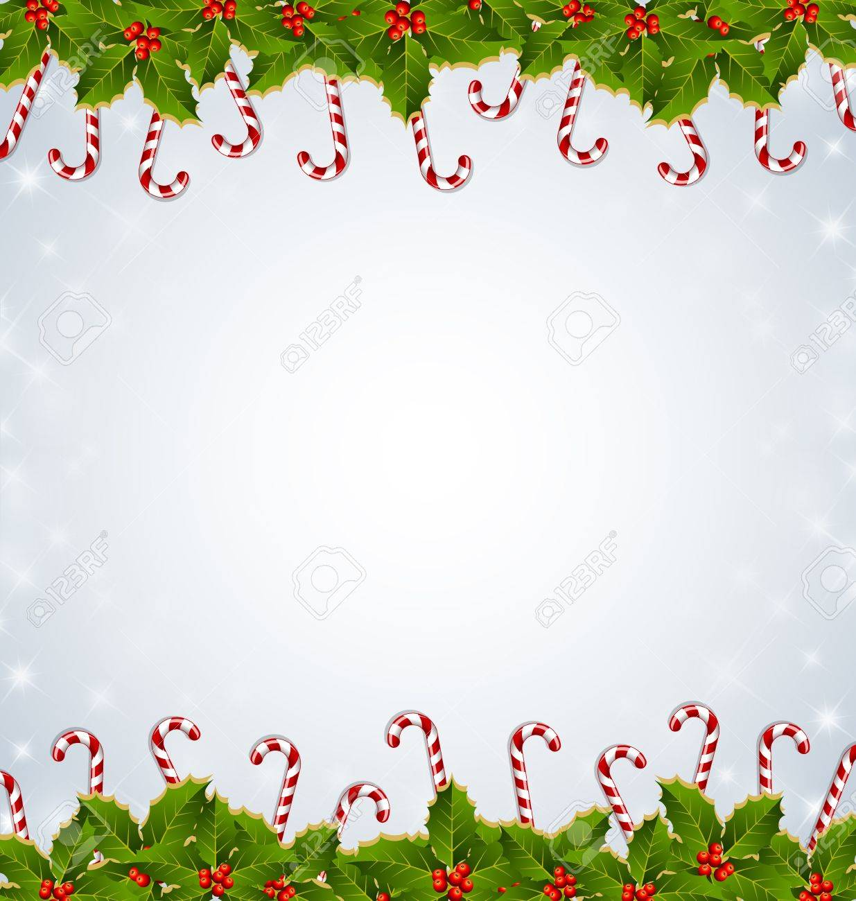 Why is holly a traditional christmas decoration - Holly And Candy Canes Traditional Christmas Decoration On Starry Background Stock Vector 15998669
