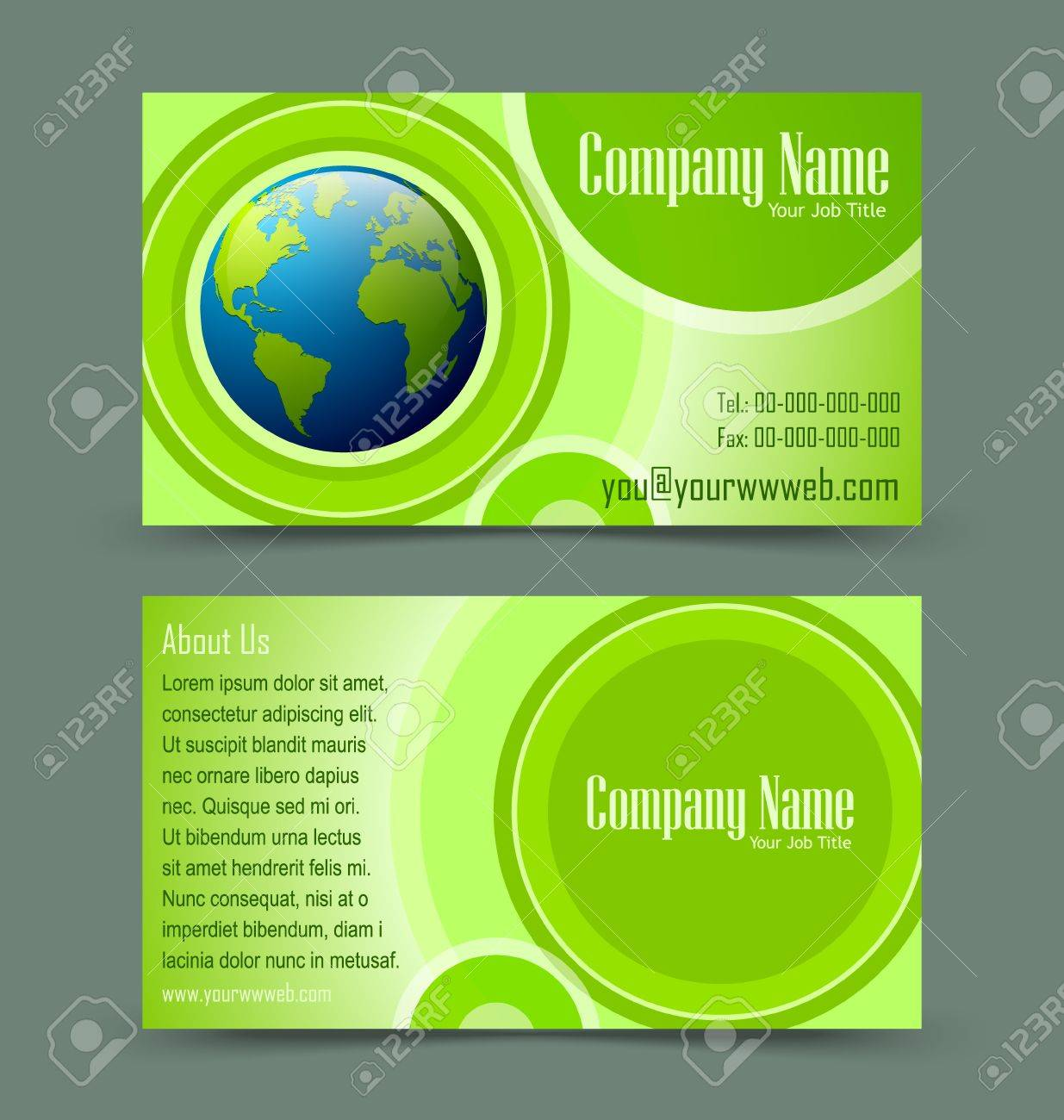 Front and back side of globe theme business card isolated on greenish background Stock Vector - 16135565