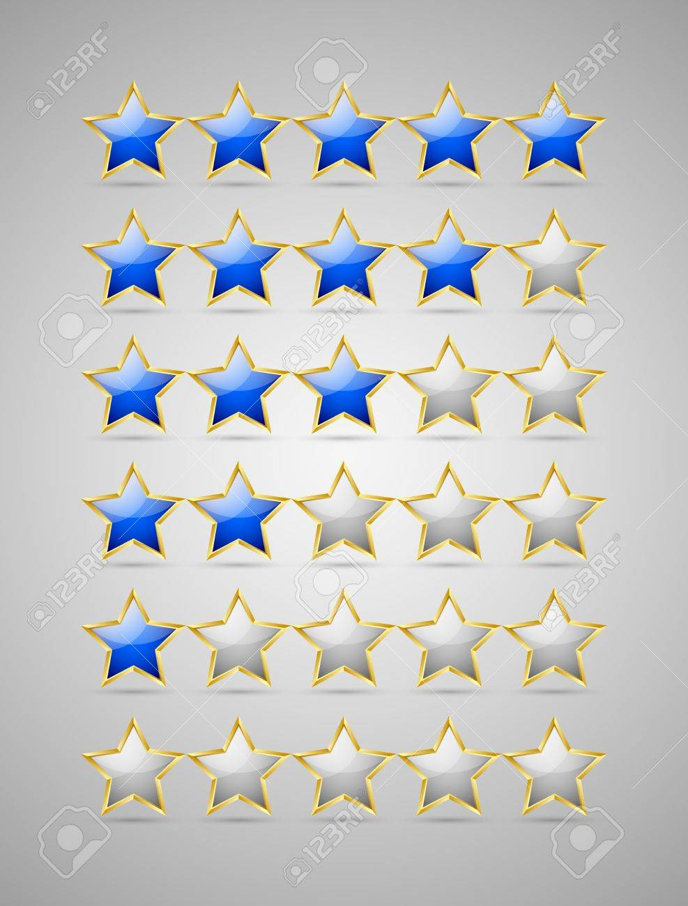 Set of rating stars isolated on grey background Stock Vector - 16135574