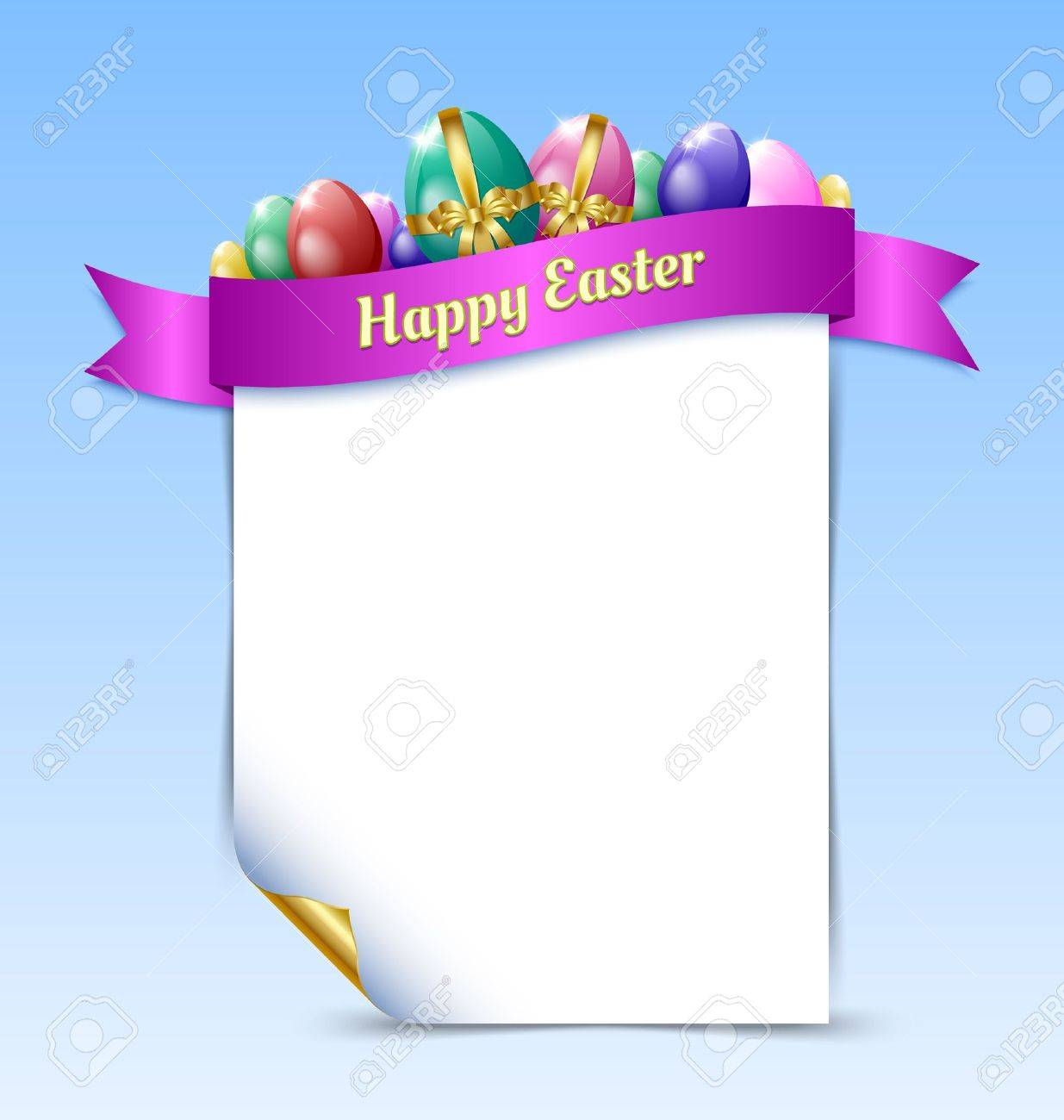 curly paper happy easter document template with easter eggs and