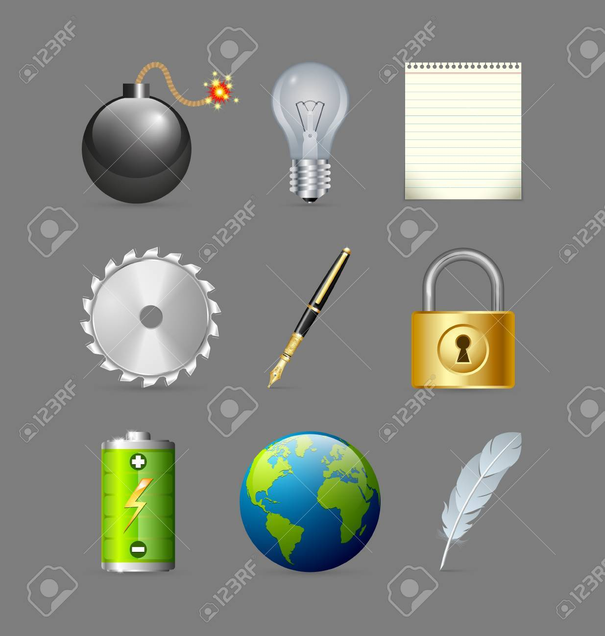 Various icons set isolated on grey background Stock Vector - 17186154