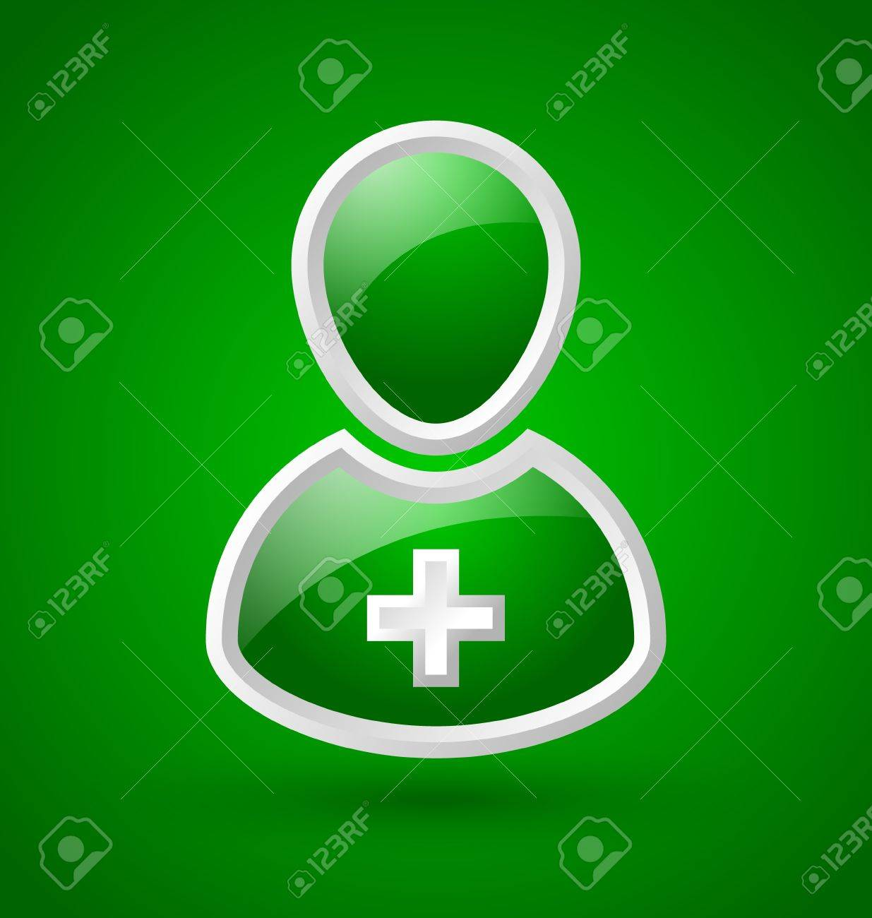 Glossy doctor or nurse icon with white cross isolated on green background Stock Vector - 17222204
