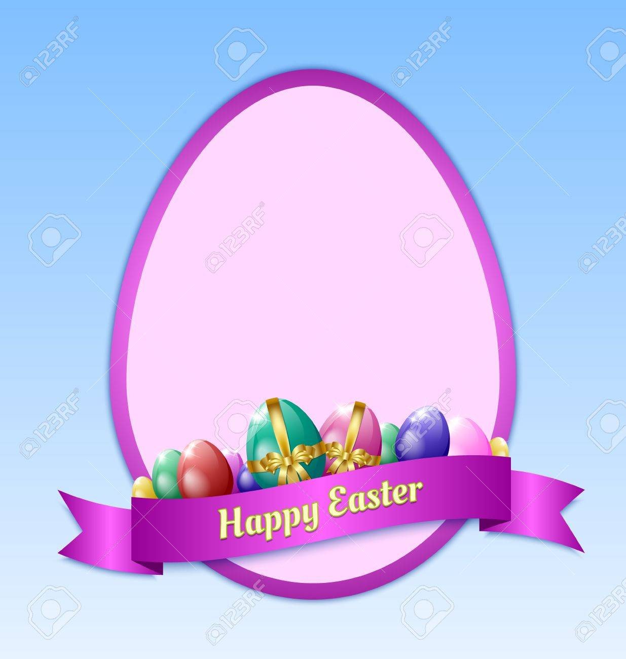 Happy Easter Greeting Card Template With Eggs And Ribbon Royalty – Easter Greeting Card Template
