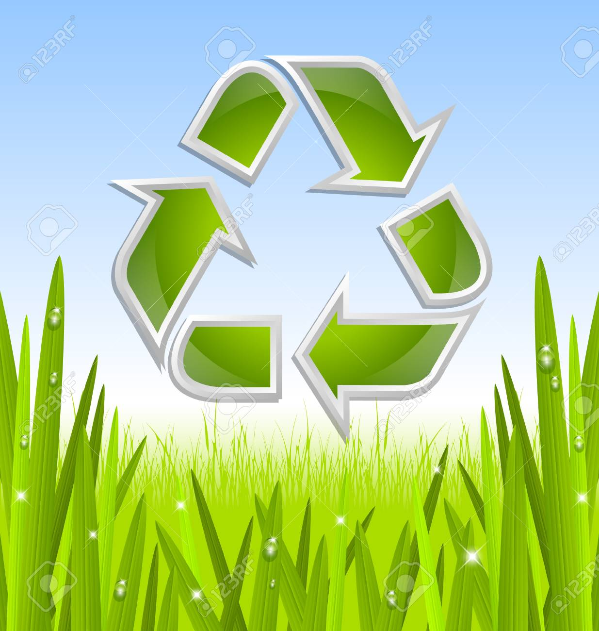 Green and glossy recycled symbol icon with grass and morning dew Stock Vector - 18419548
