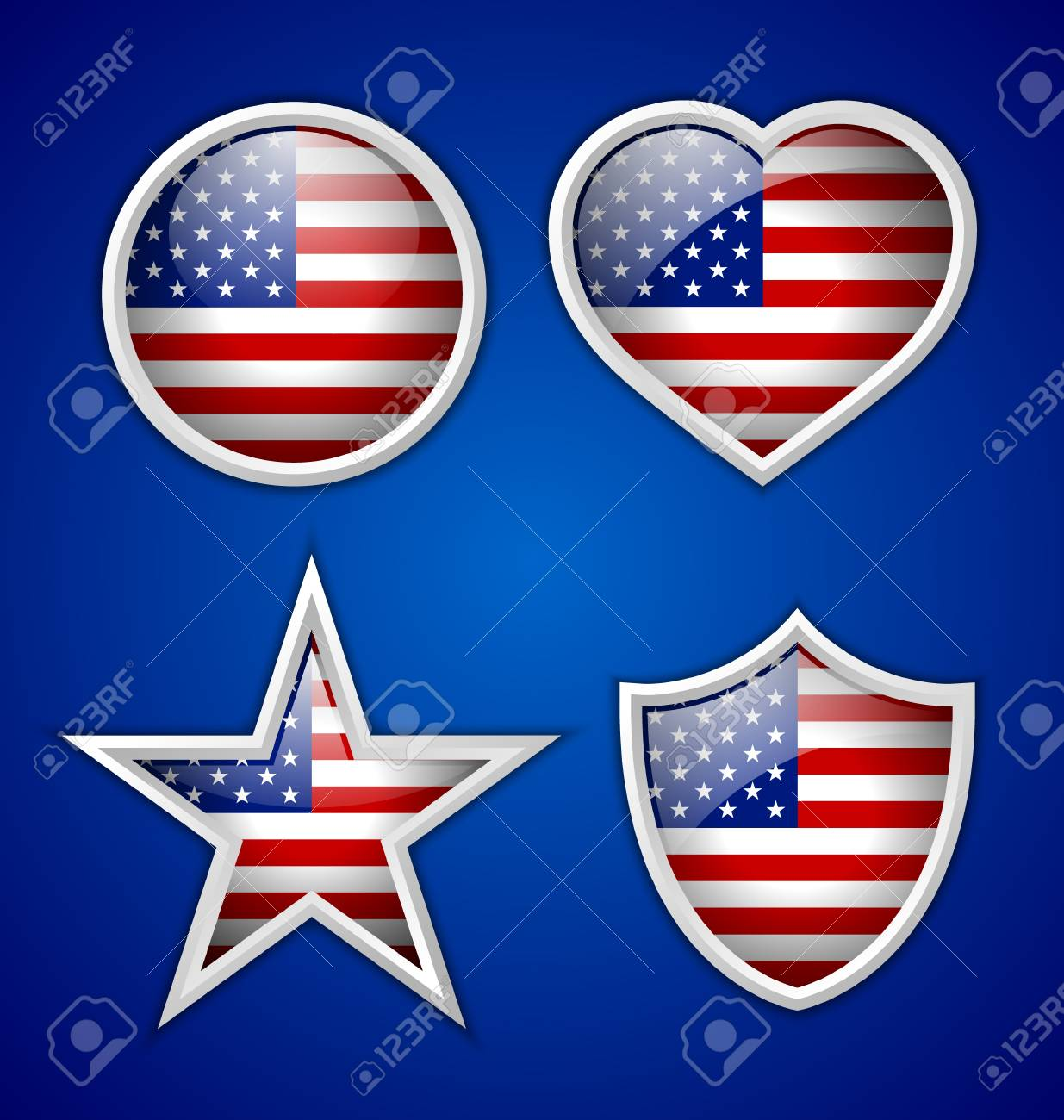 Four american badges isolated on blue background Stock Vector - 20027660