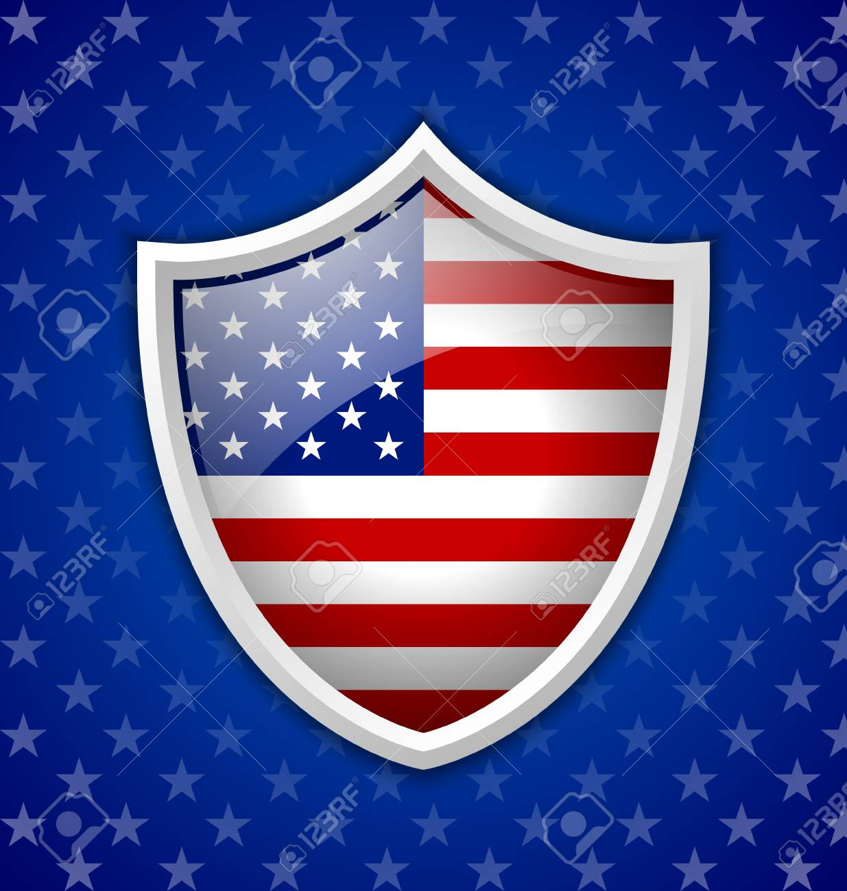 American shield badge on blue starry background Stock Vector - 20405914