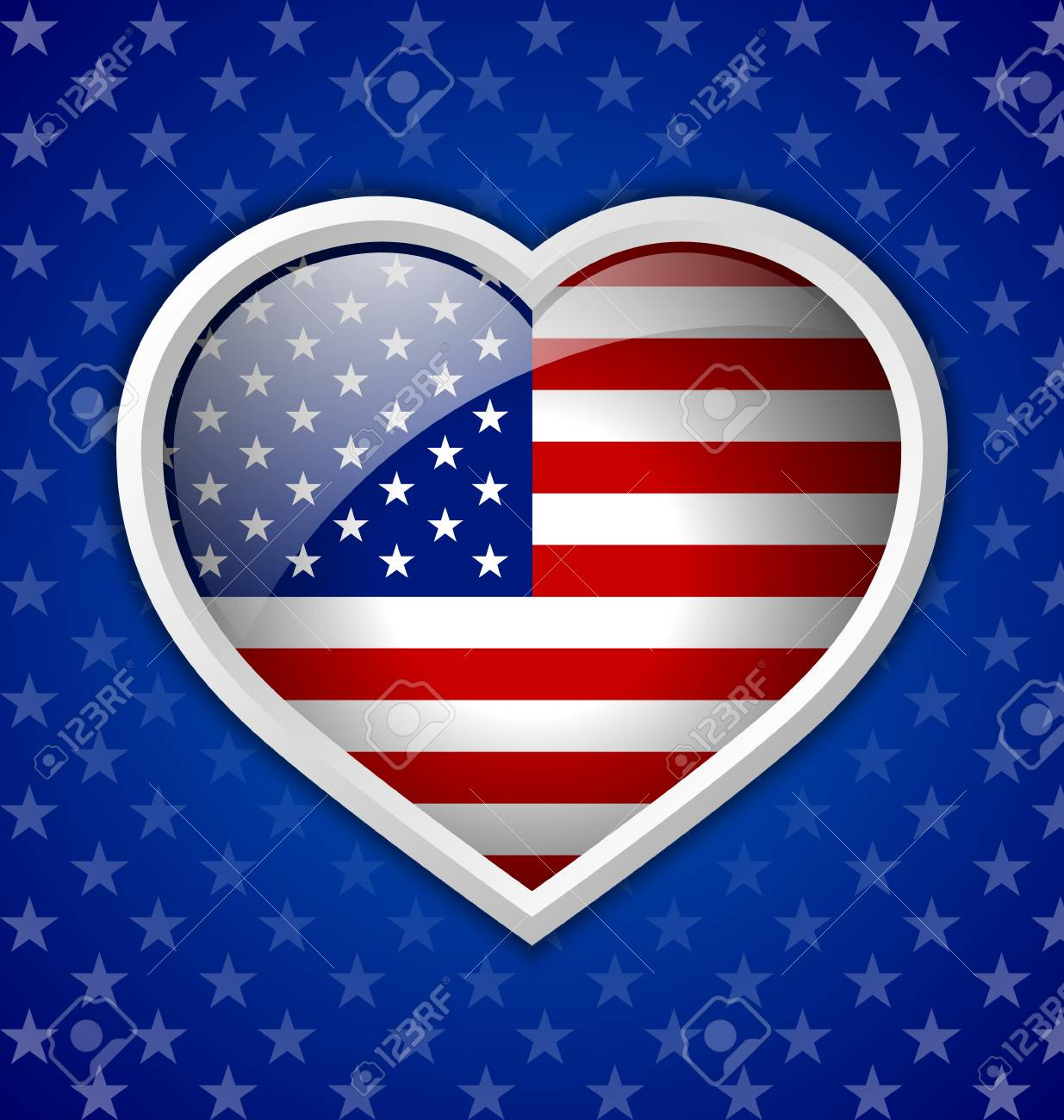 American heart badge on blue starry background Stock Vector - 21036673