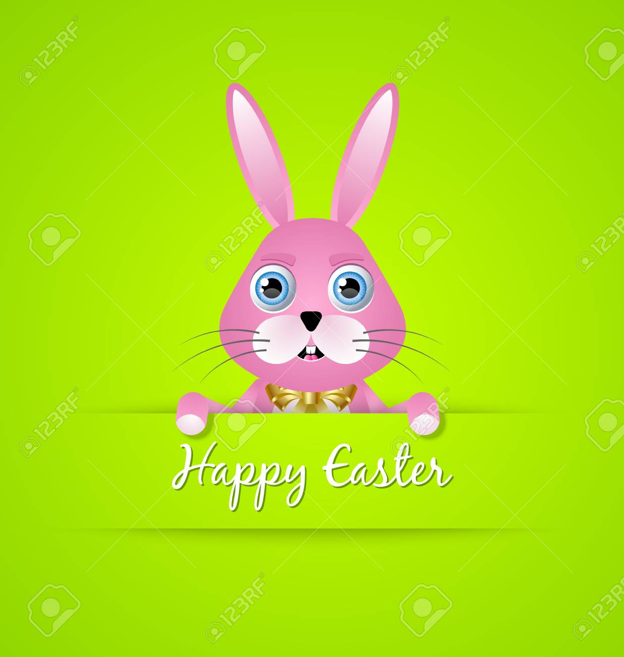 happy easter card template with pink bunny on green background