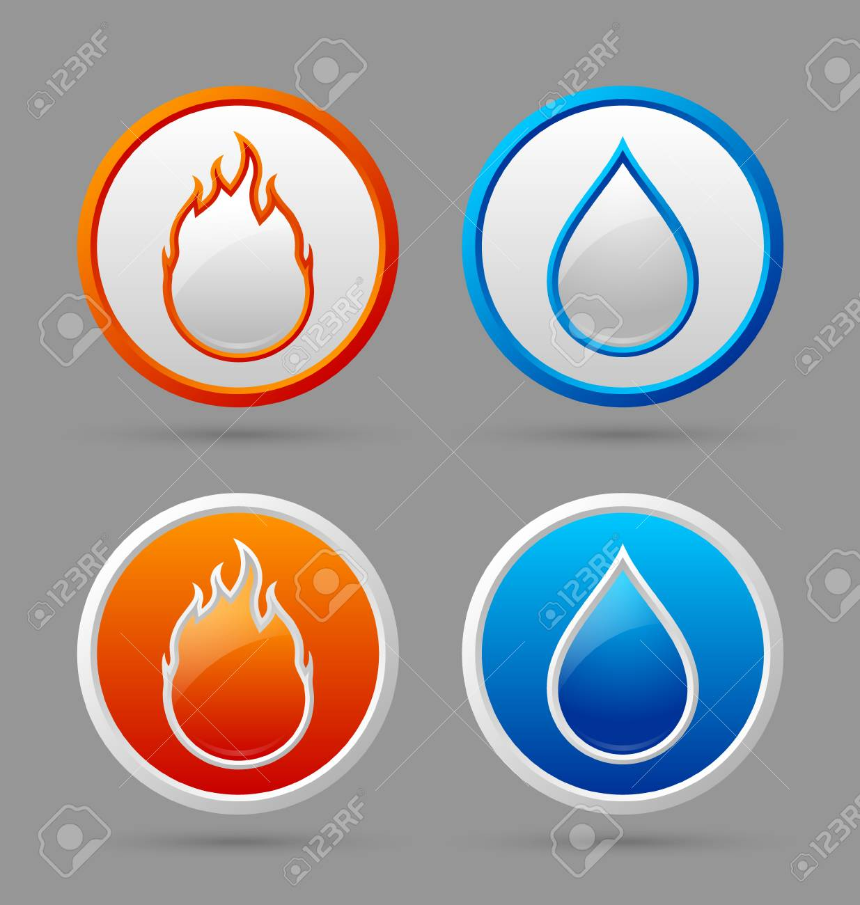 Glossy fire and water icons on grey background royalty free glossy fire and water icons on grey background stock vector 30547278 biocorpaavc Choice Image