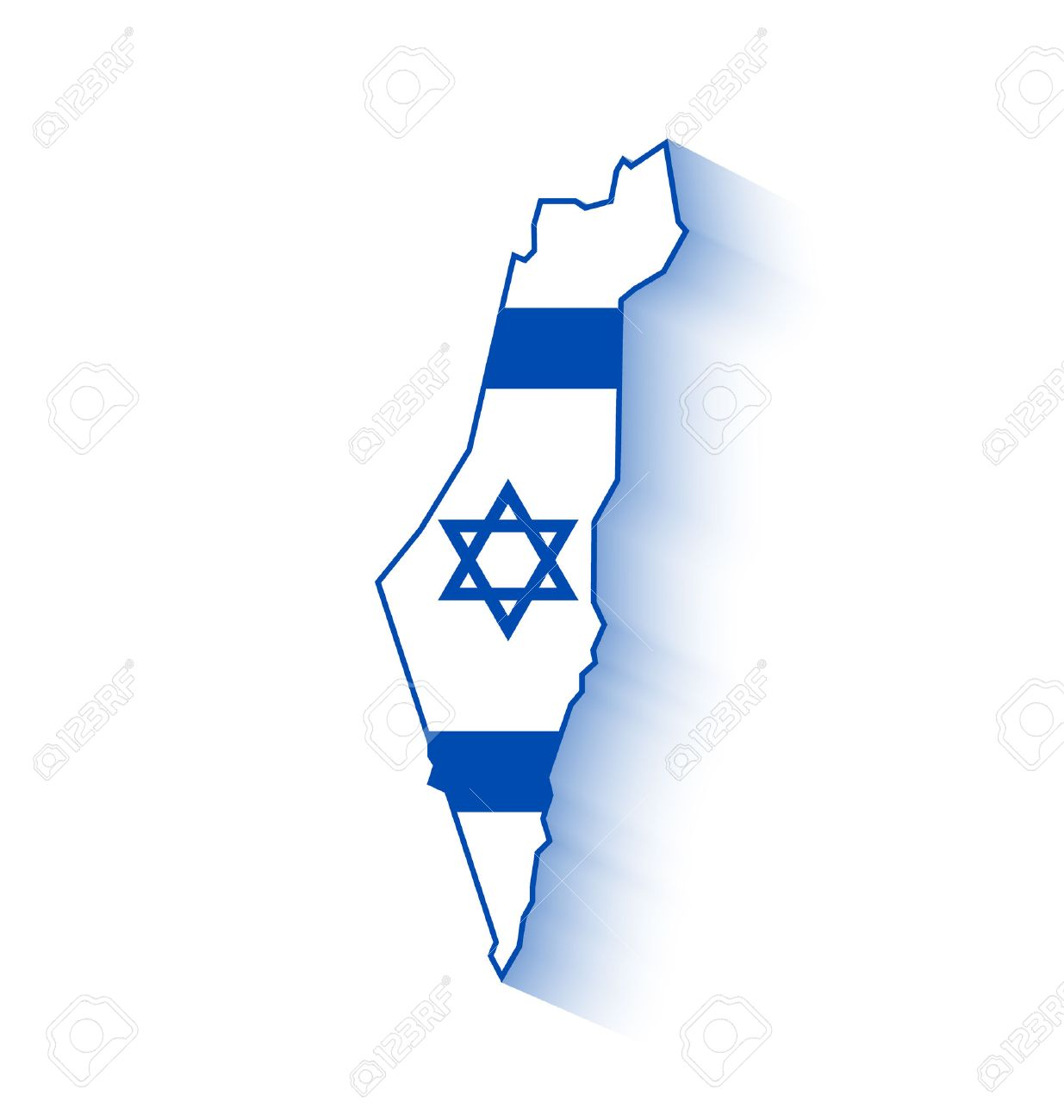 Israel Map With Israeli Flag Inside Of Shape With Long Shadow - Israel map