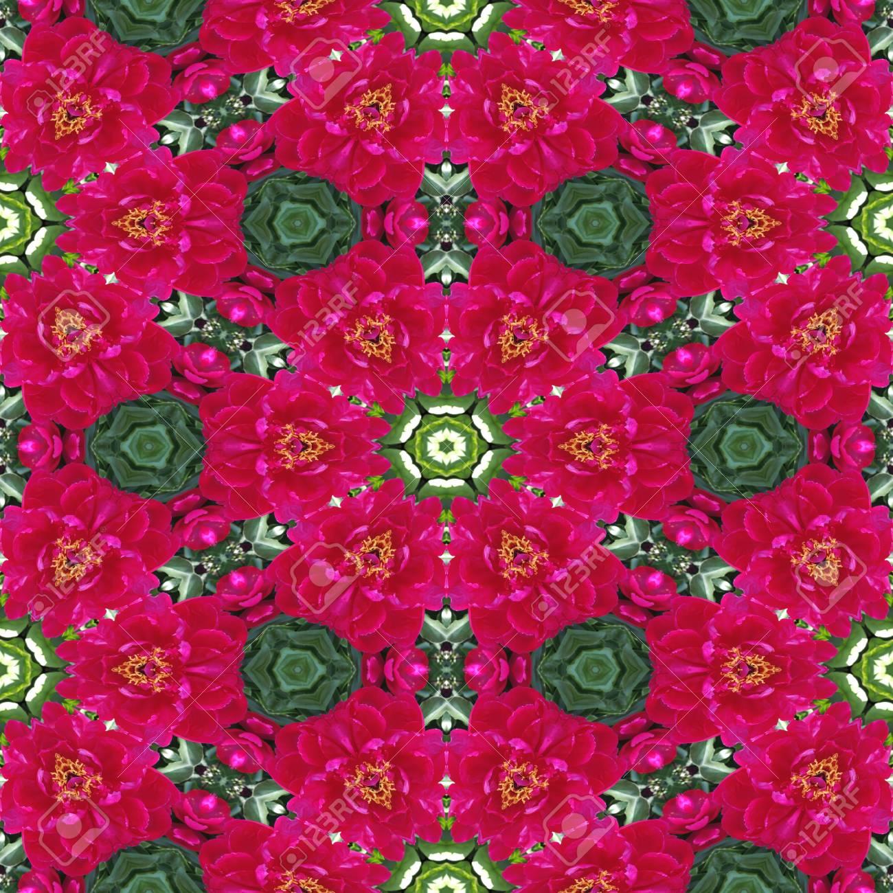 Grun Und Rosa Pfingstrose Blume Nahtlose Mosaik Fliesen Textur