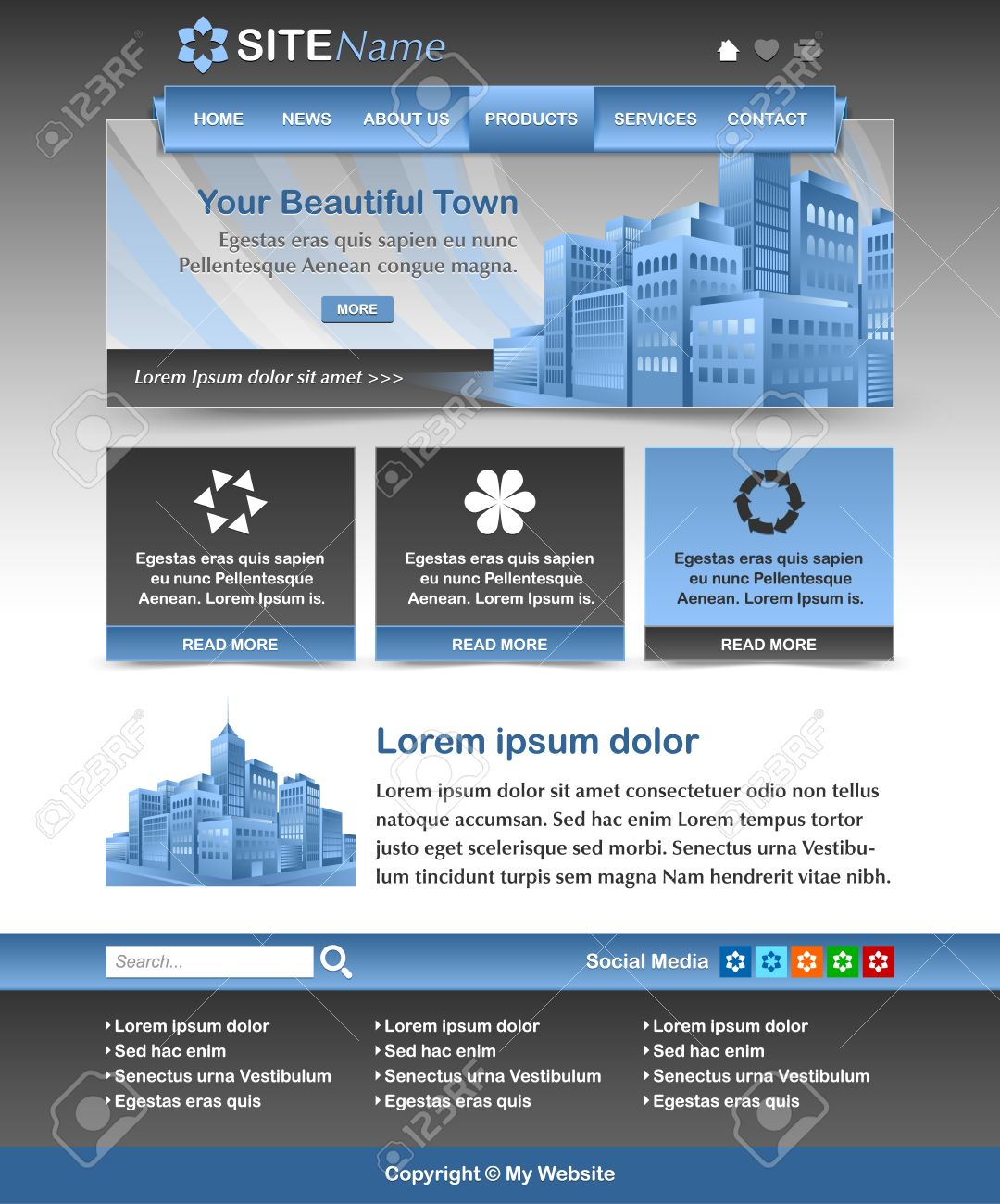 Easy Customizable Blue And Dark Grey Website Template Layout ...