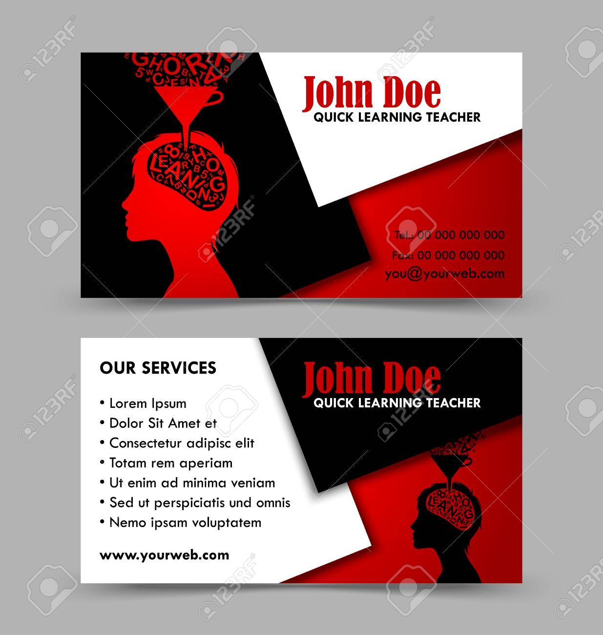 front and back side of quick learning theme business card isolated on grey background stock vector
