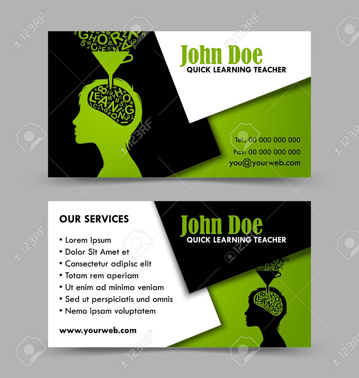 Front and back side of quick learning theme business card isolated front and back side of quick learning theme business card isolated on grey background stock vector reheart Choice Image