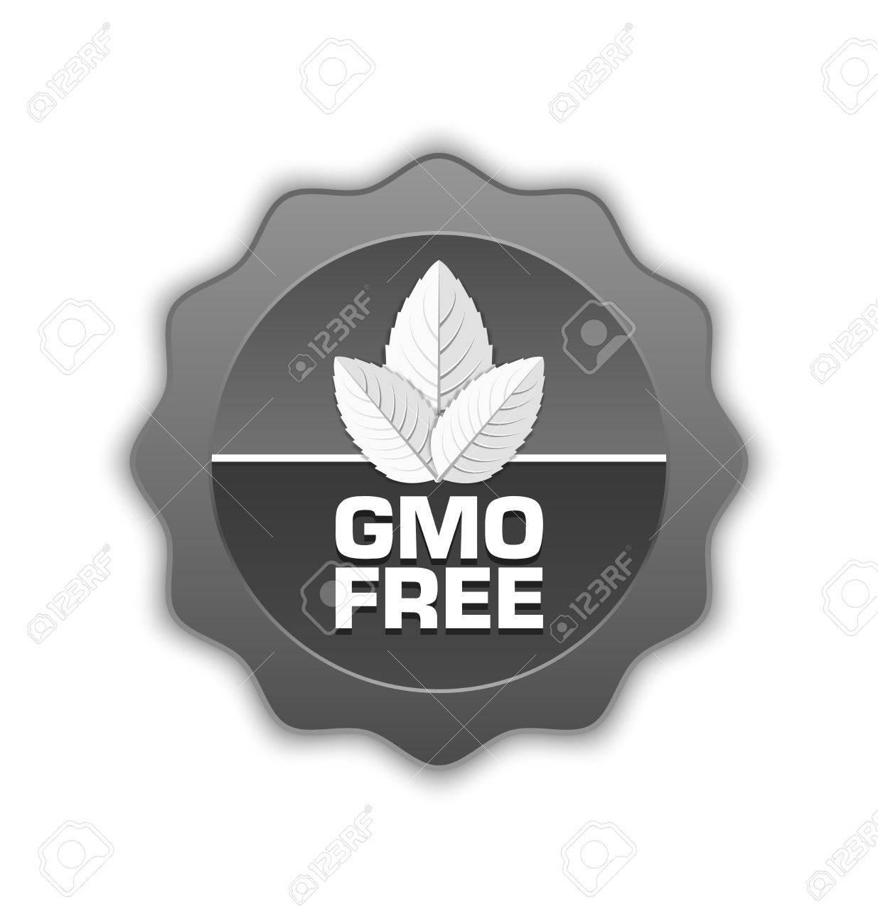 Gmo Free Symbol Oder Ein Abzeichen Mit Blttern Auf Weiem