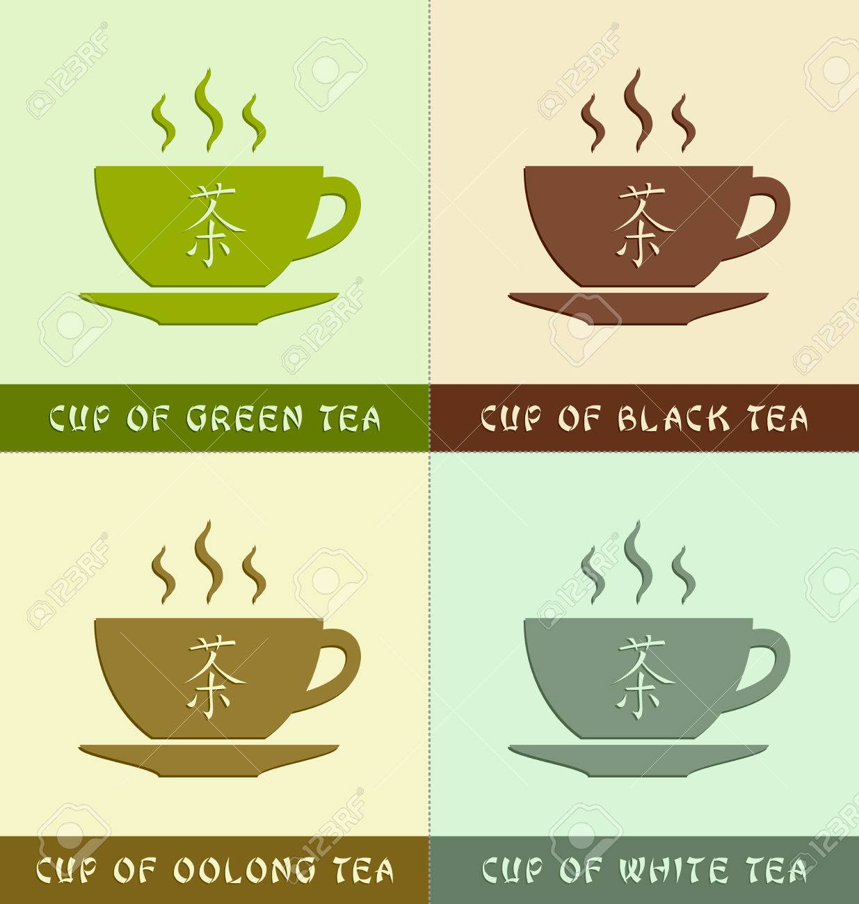 Cups Of Different Types Of Teas With Chinese Symbol That Means