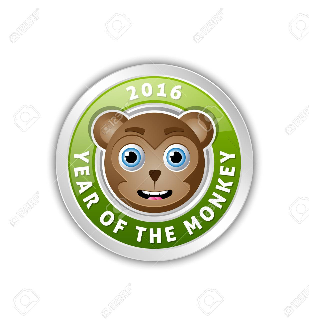 2016 year of the monkey chinese new year animal badge with lettering stock vector 83744411 - Chinese New Year 2016 Animal