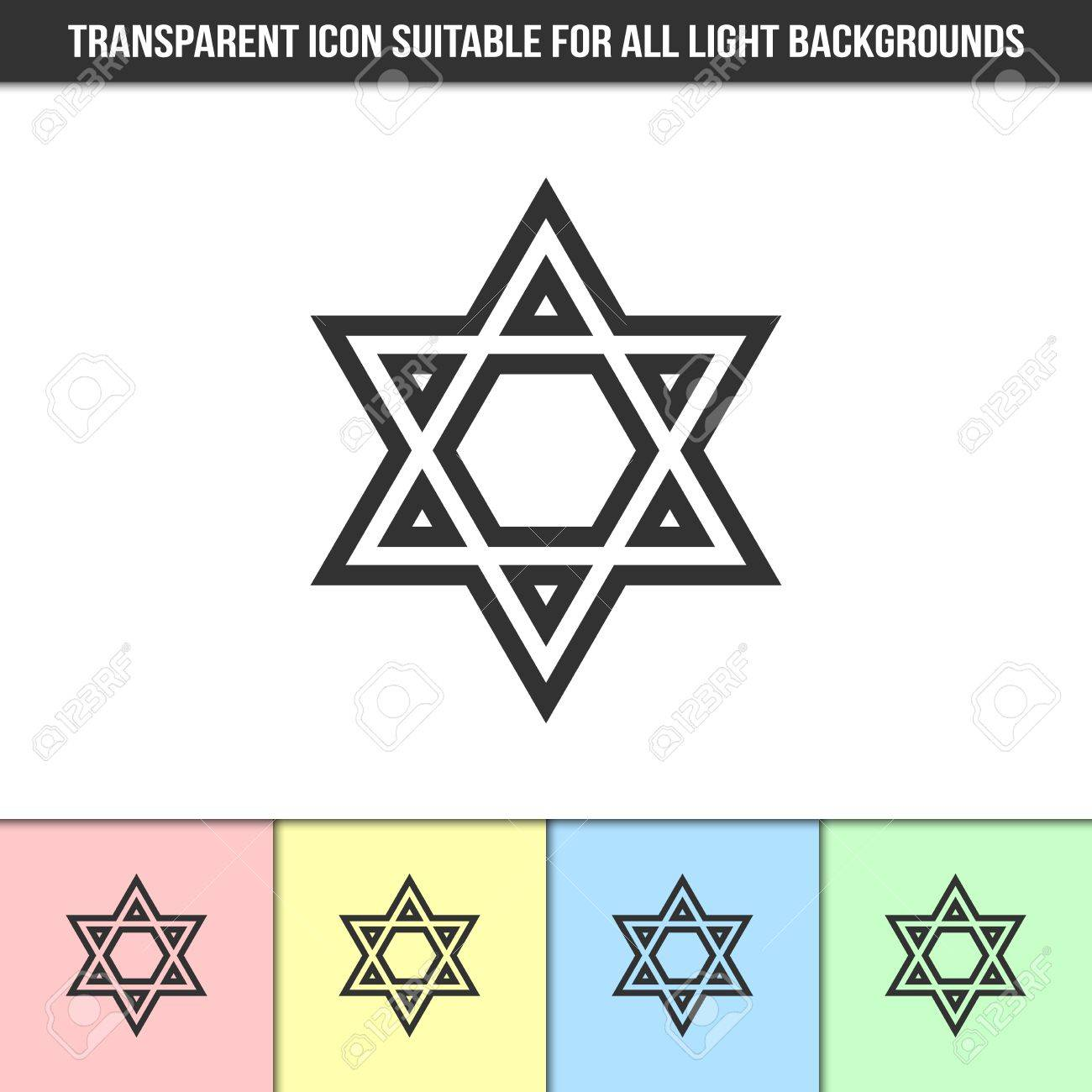 Simple outline transparent israeli star of david icon on different simple outline transparent israeli star of david icon on different types of light backgrounds stock vector biocorpaavc Choice Image