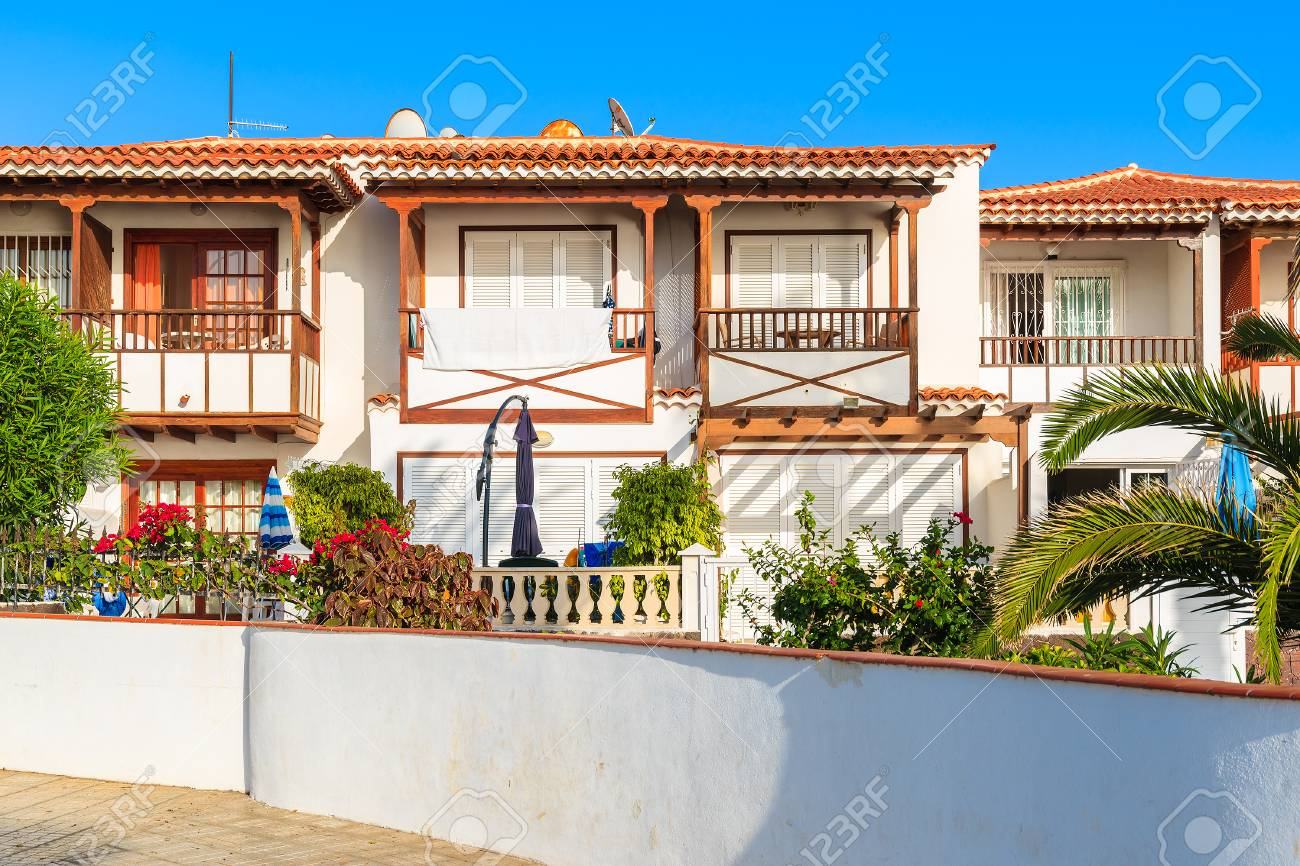 Stock Photo   Typical Holiday Apartments In Costa Adeje Town, Tenerife,  Canary Islands, Spain