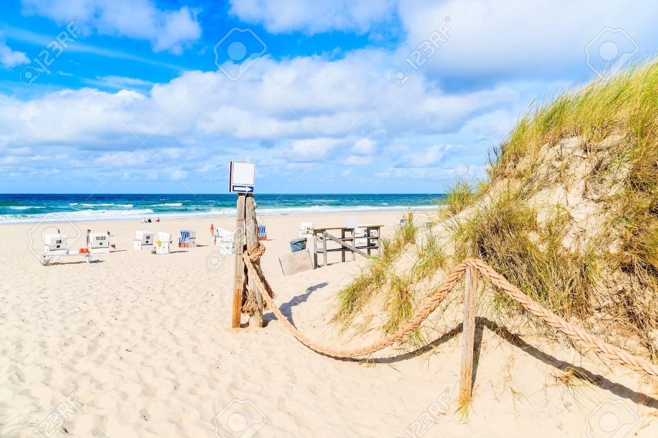 Entrance To Sandy Beach In Kampen Village Sylt Island Germany