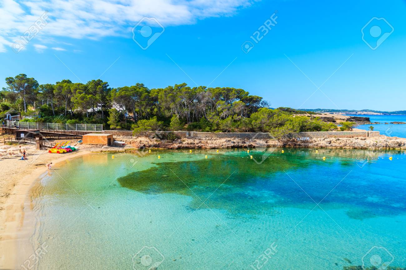 View of beautiful Cala Gracio beach at early morning, Ibiza island,