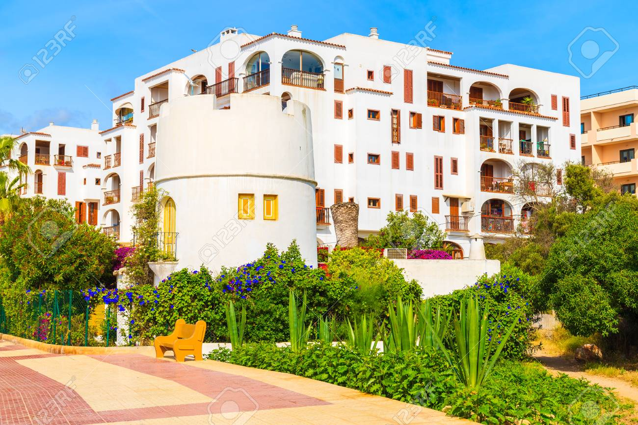 Promenade And Apartments In Traditional Colonial Spanish Style In Santa  Eularia Town, Ibiza Island,