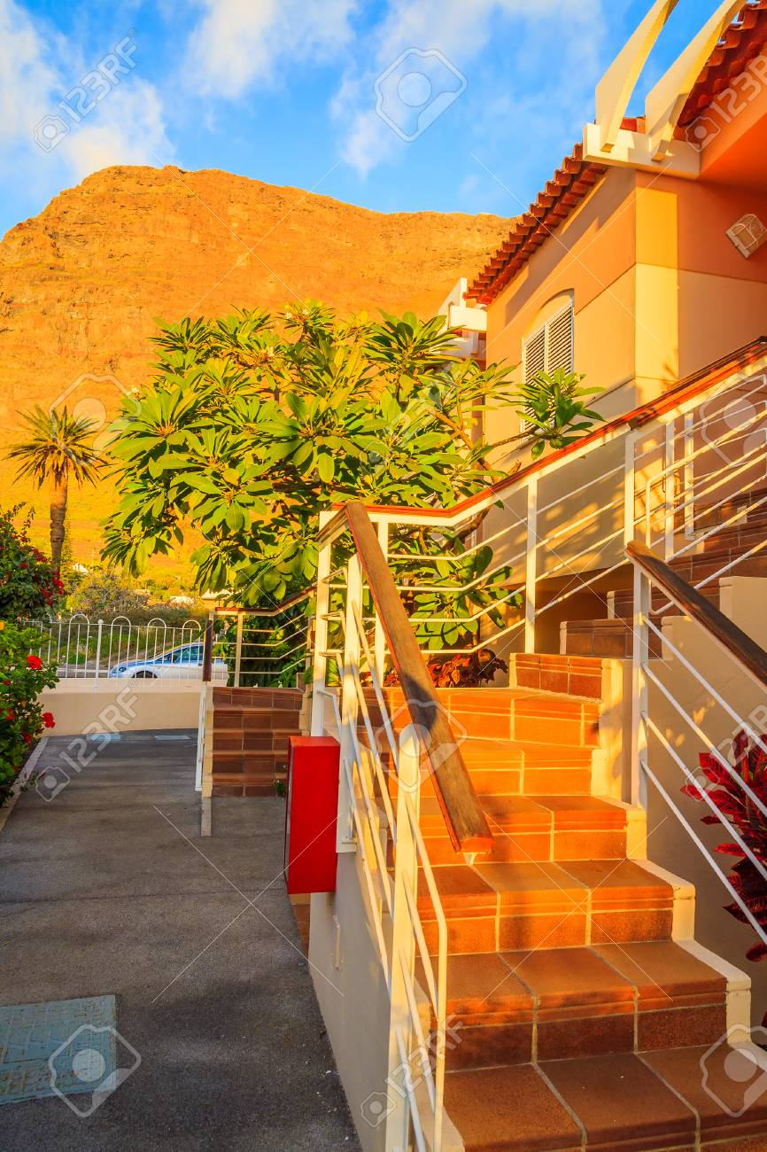Steps to holiday villa at sunset time in Valle Gran Rey village
