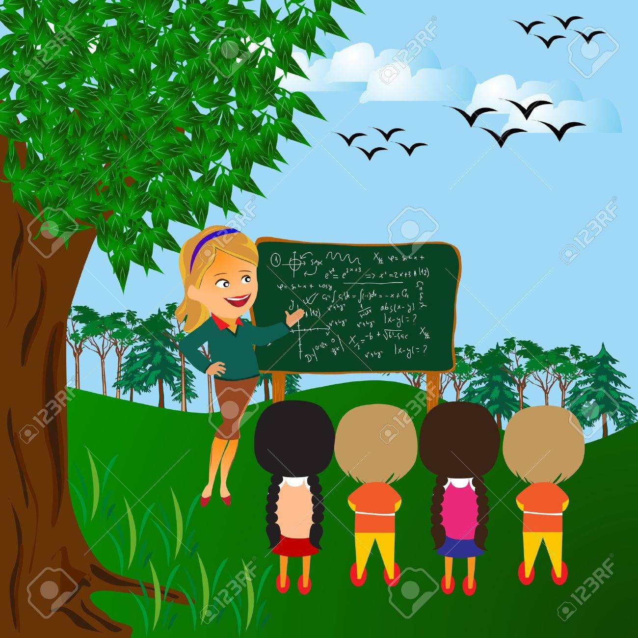 Classroom with children at the first school day. Stock Vector - 9944509