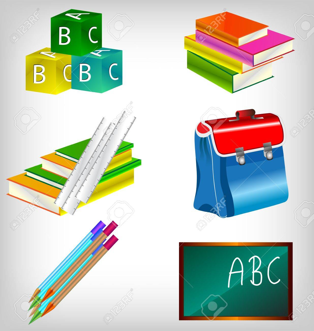 Blank blackboard with school accessories with copy space for your text. Stock Vector - 10080863