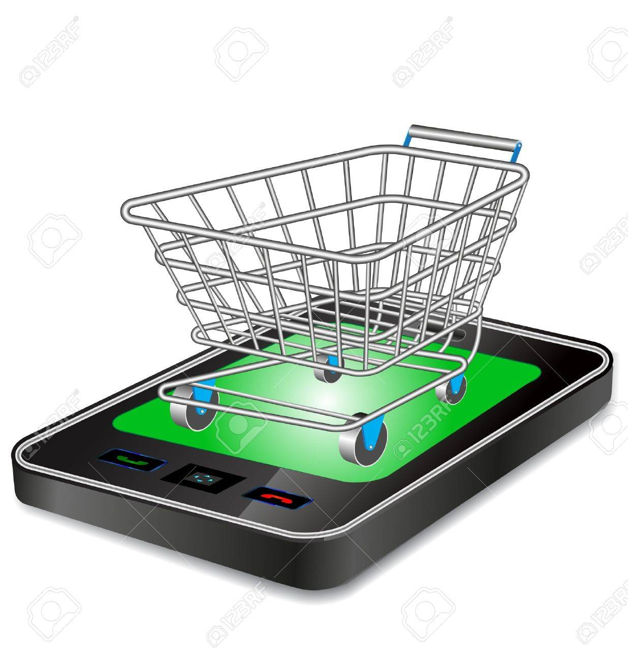 shopping cart trolley with smart phone Stock Vector - 10232592