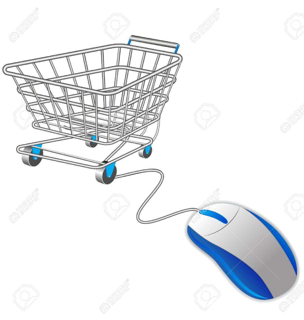 shopping cart trolley and computer mouse Stock Vector - 10232594
