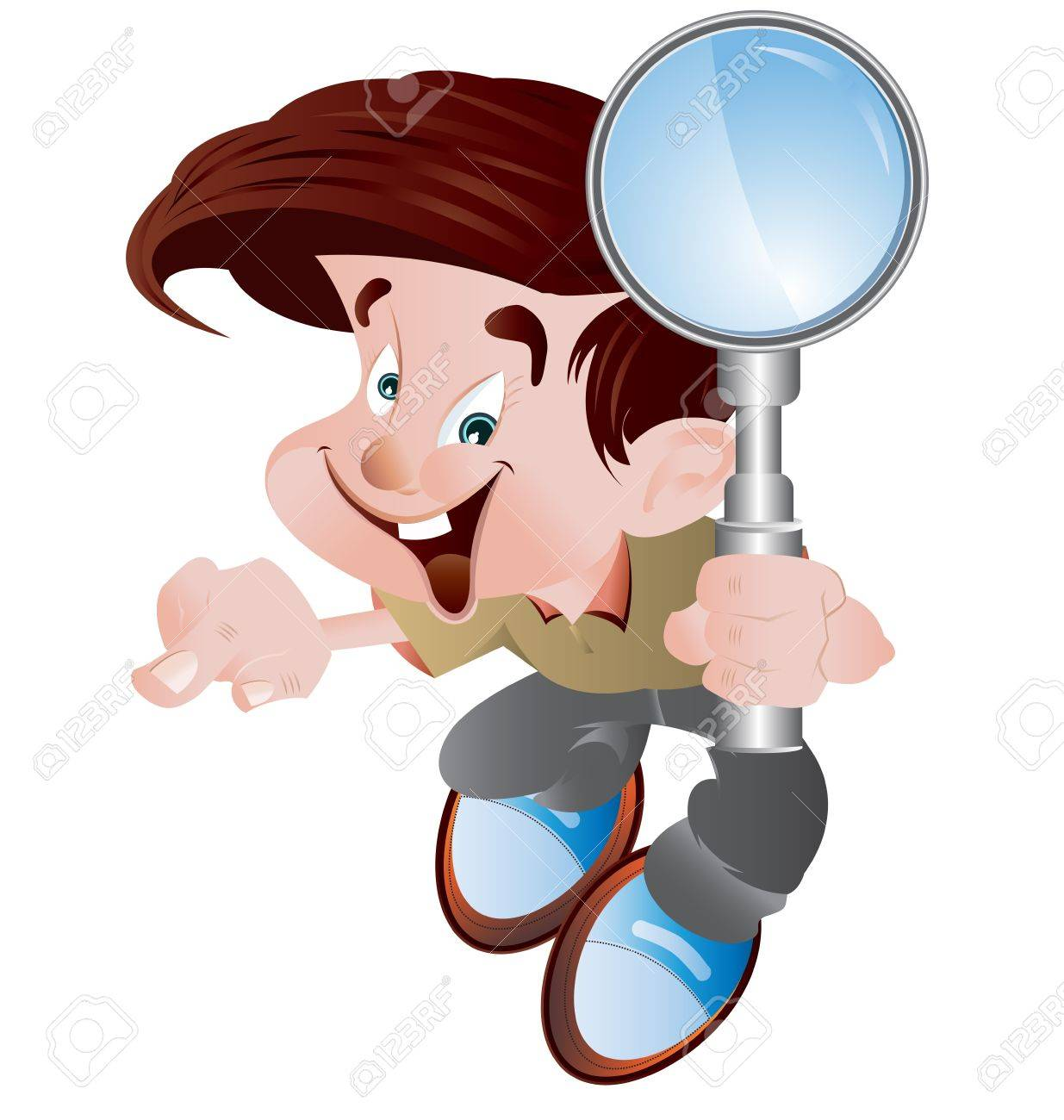 A vector illustration of a student holding a magnifying glass - 10482297