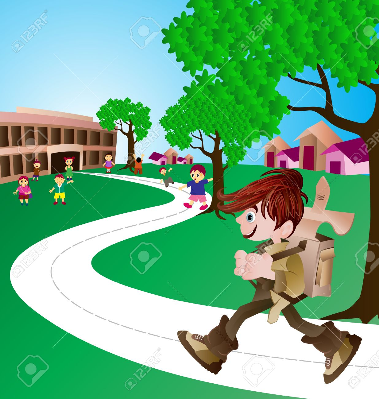 cute boy on his way to school Stock Vector - 10482308