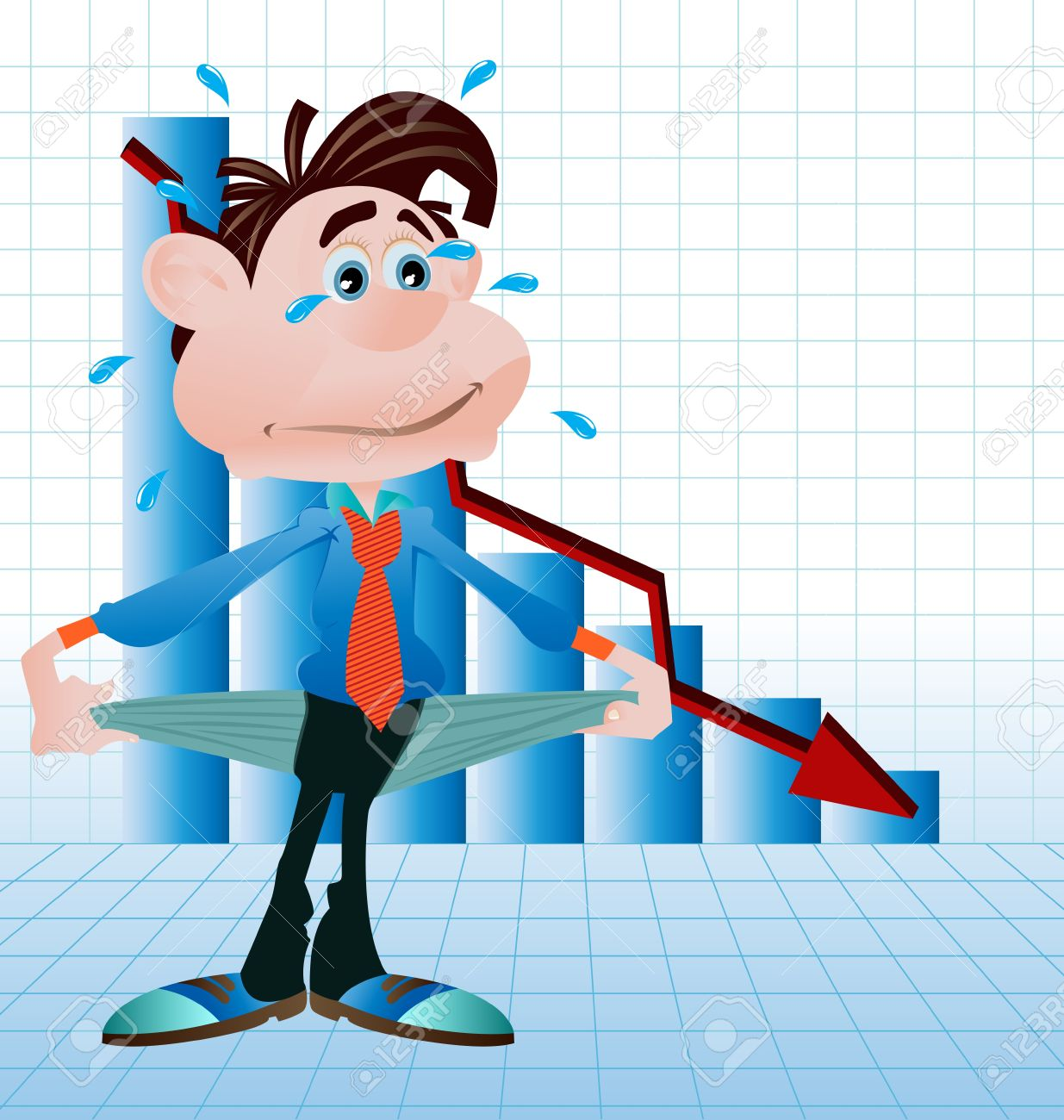penniless business man showing his empty pockets Stock Vector - 10551401