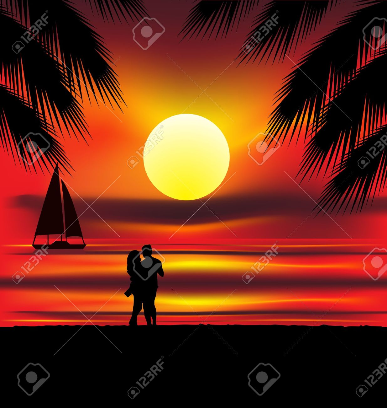 Two lovers on the beach with tropical sunset, palms, sea and island behind them Stock Vector - 10785594
